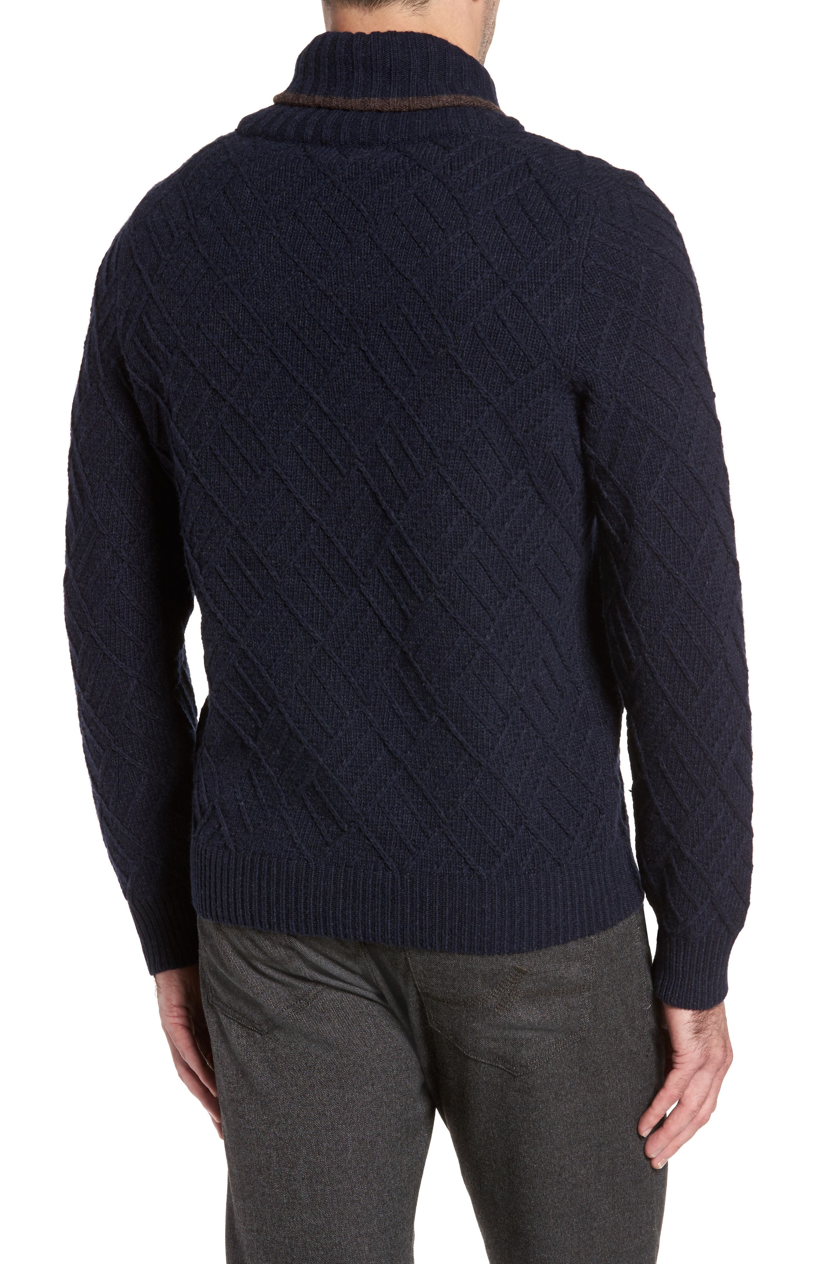 Textured Wool Sweater,                             Alternate thumbnail 2, color,                             Navy