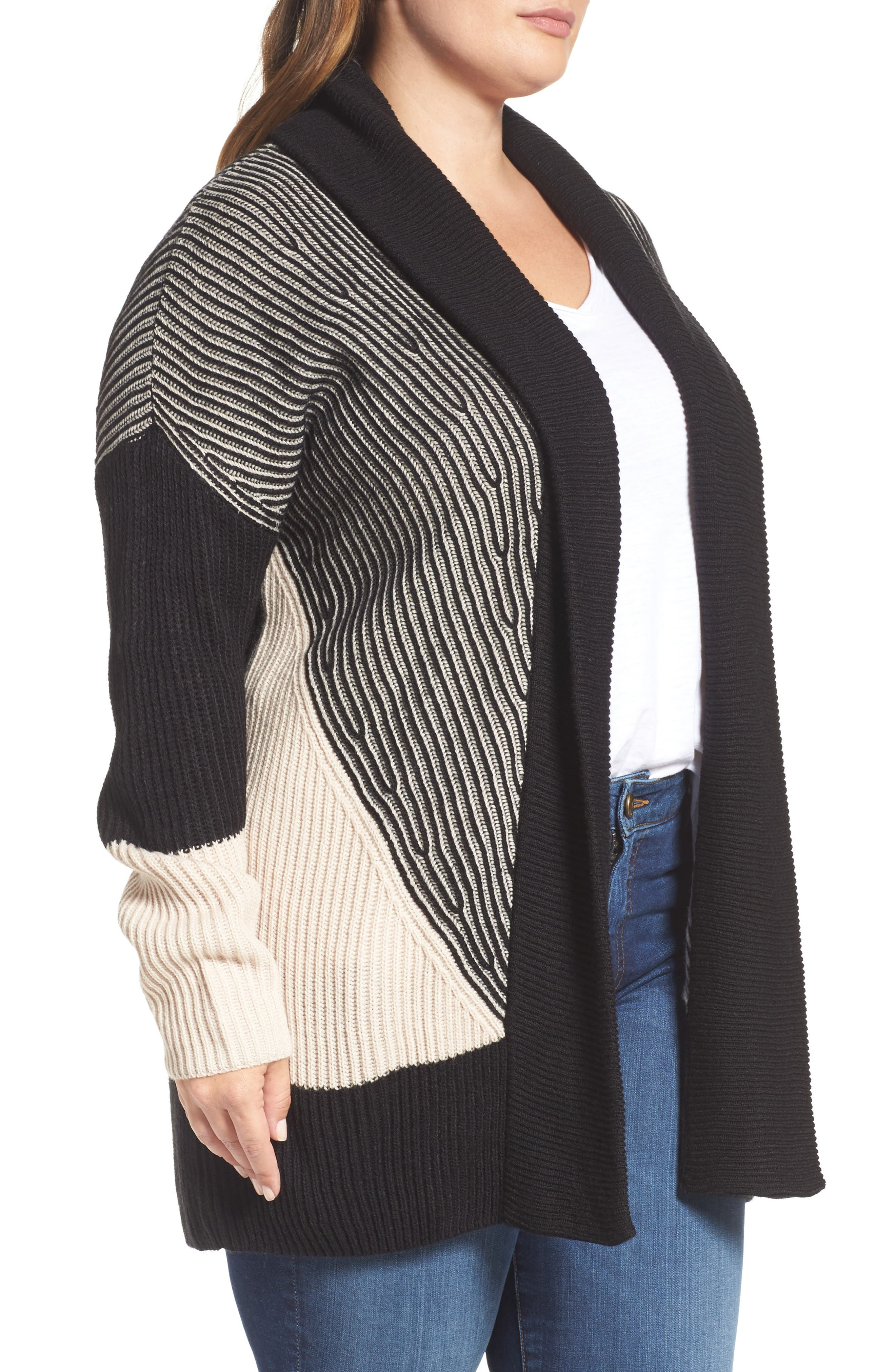 Colorblock Ribbed Cardigan,                             Alternate thumbnail 3, color,                             Beige- Black Pattern