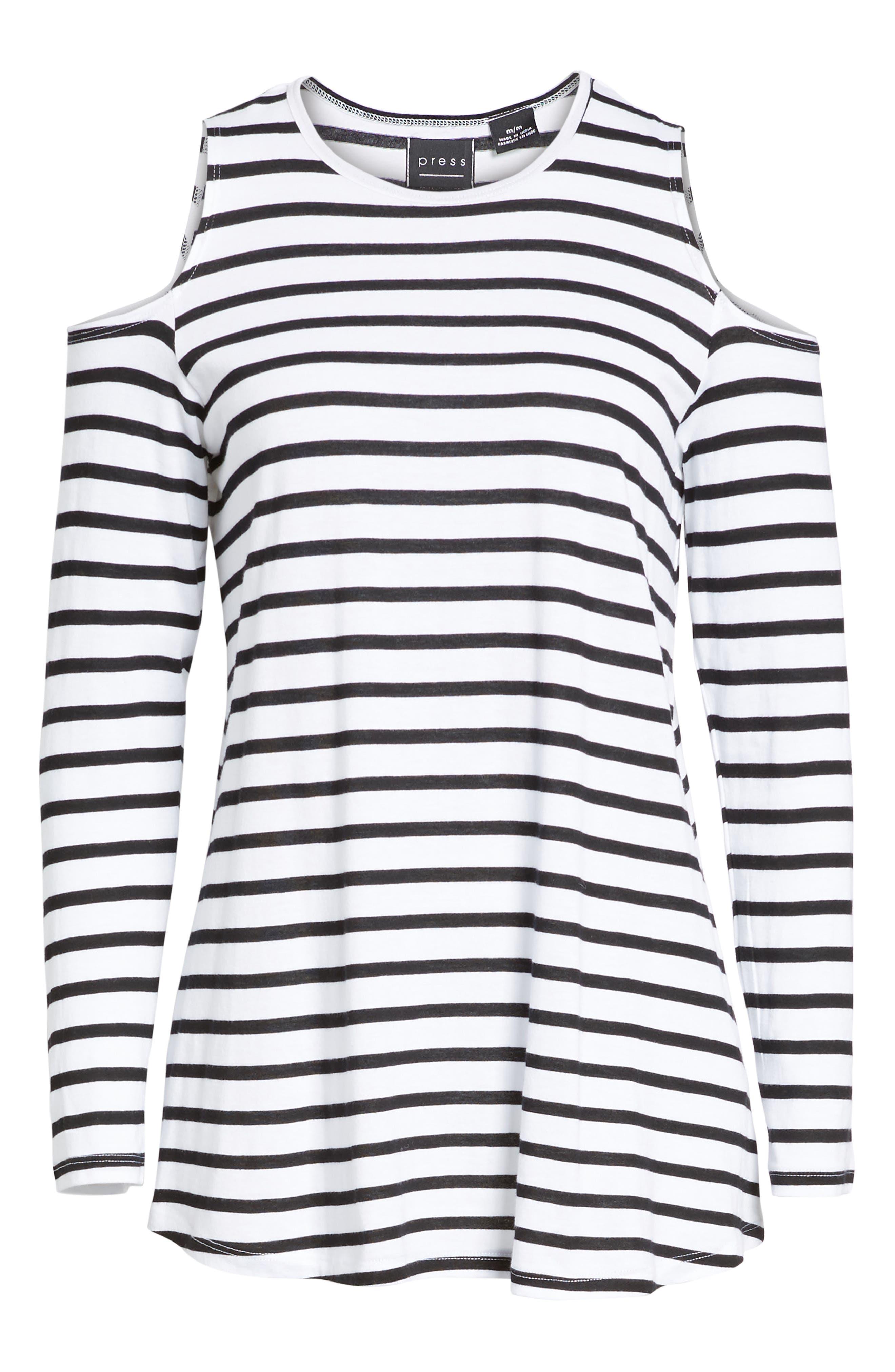Open Shoulder Stripe Top,                             Alternate thumbnail 6, color,                             White Black