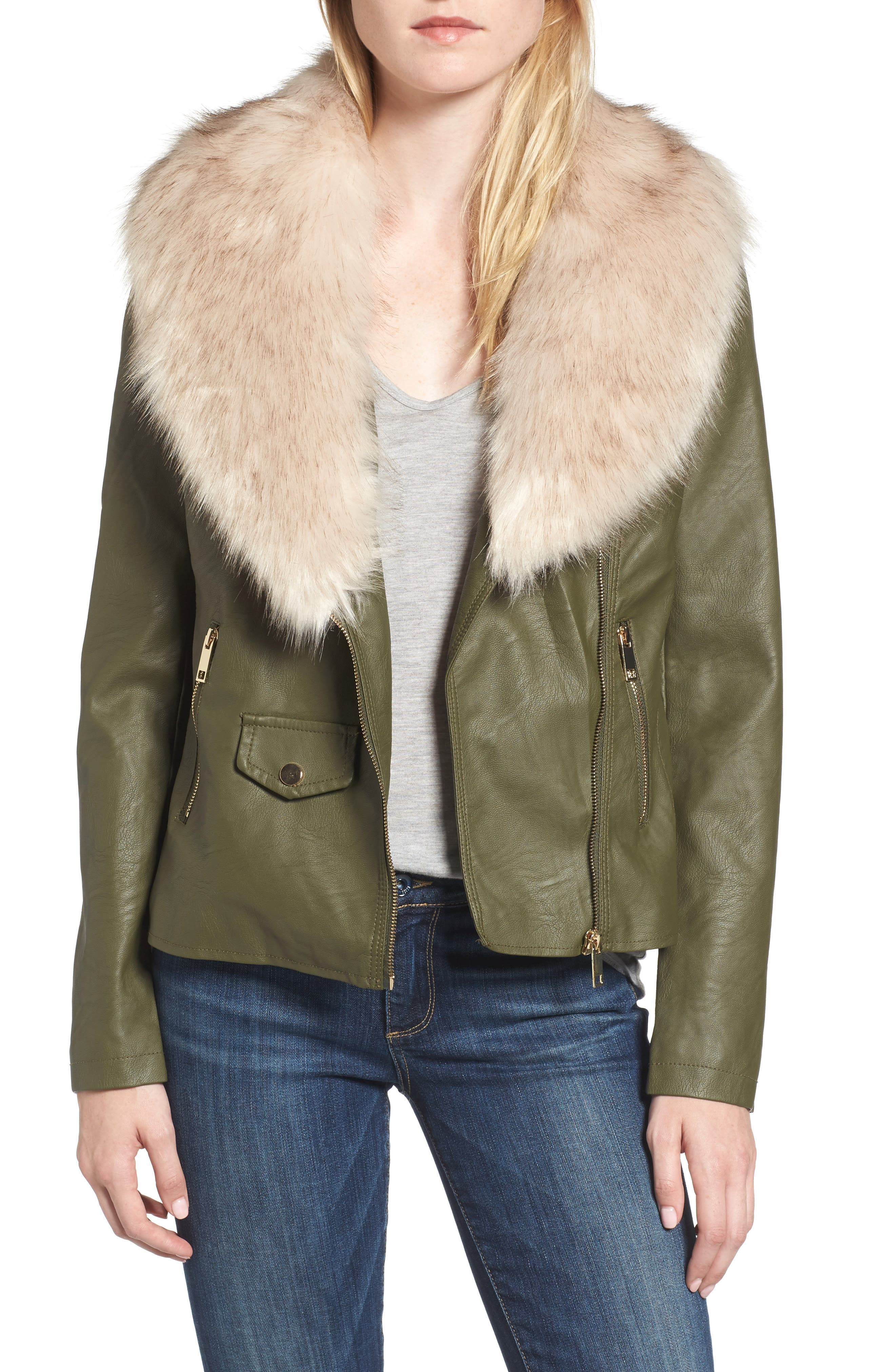 Love Token Faux Leather Jacket with Removable Faux Fur Collar
