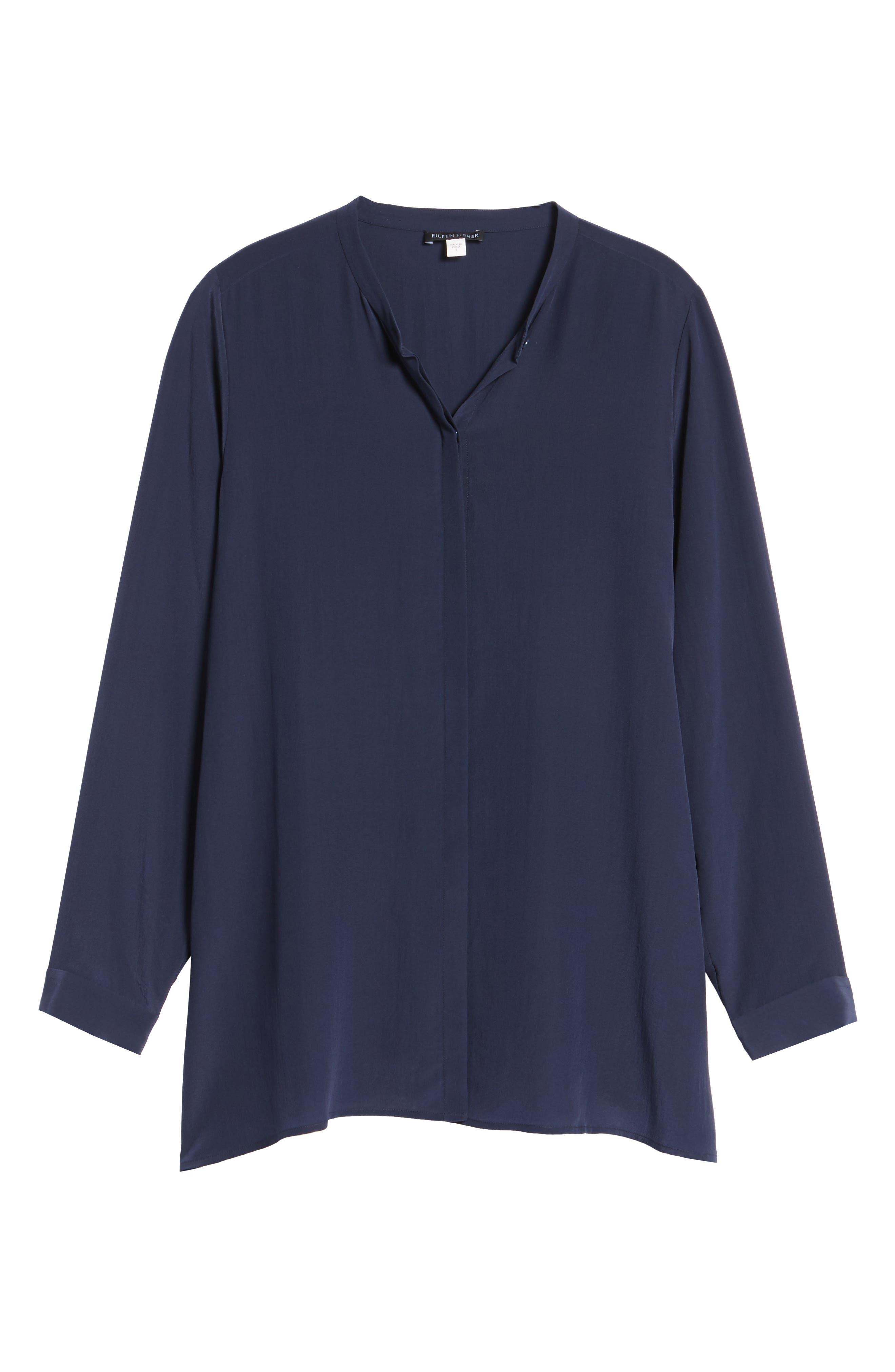 Silk Shirt,                             Alternate thumbnail 6, color,                             Midnight