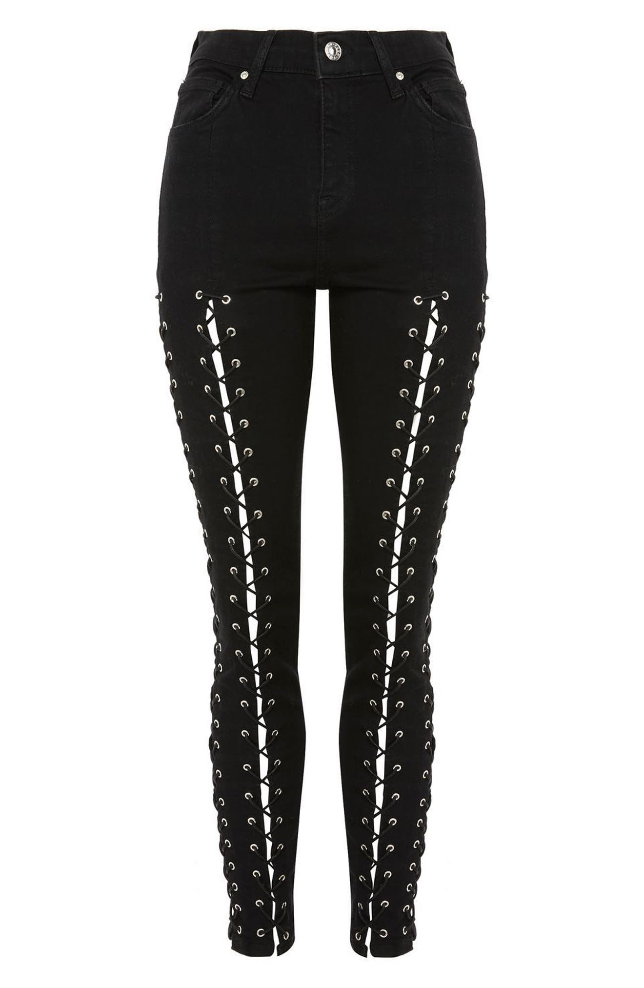 Alternate Image 4  - Topshop Jamie Extreme Lace-Up Skinny Jeans