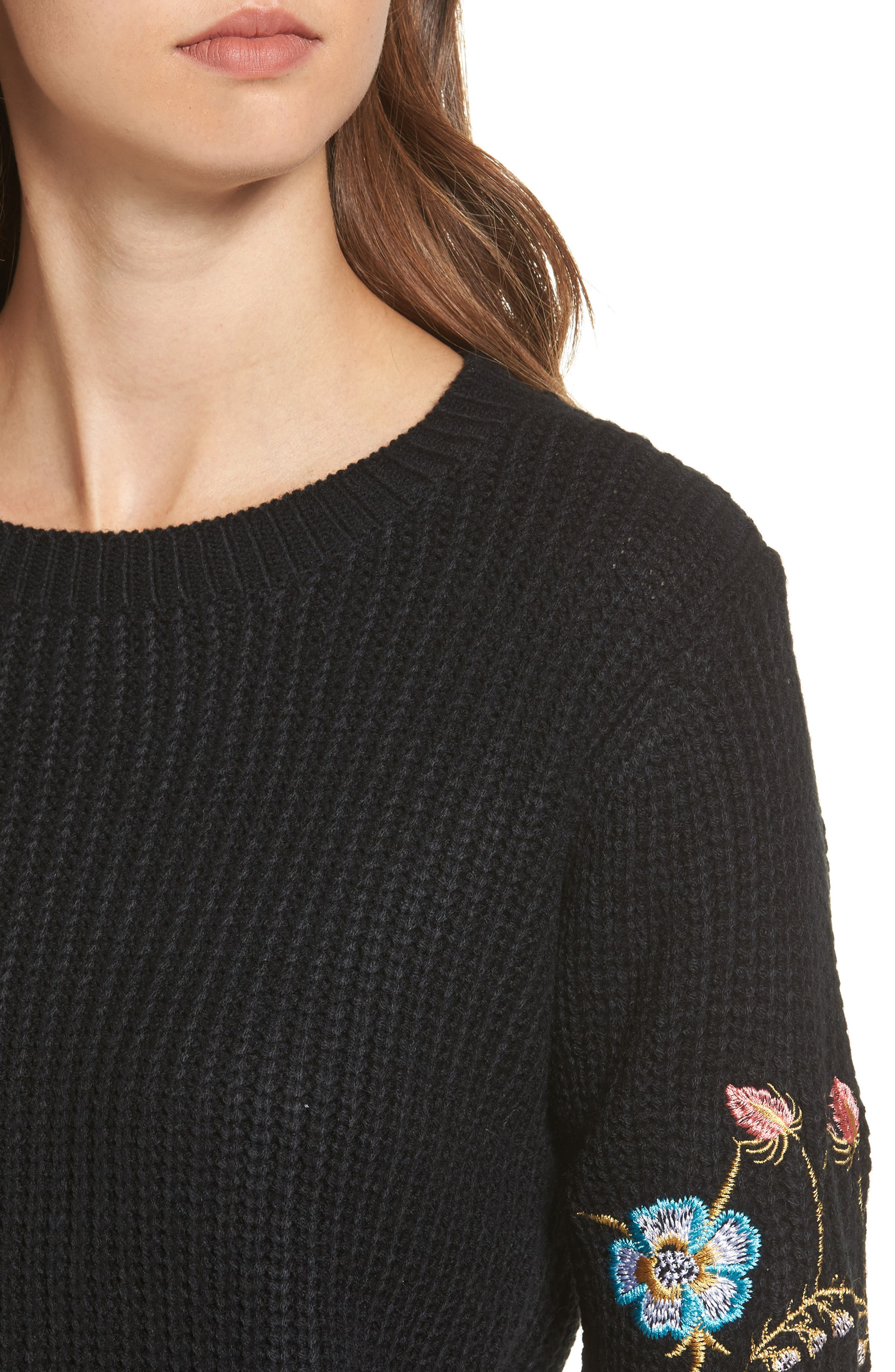 Embroidered Waffle Stitch Sweater,                             Alternate thumbnail 4, color,                             Black