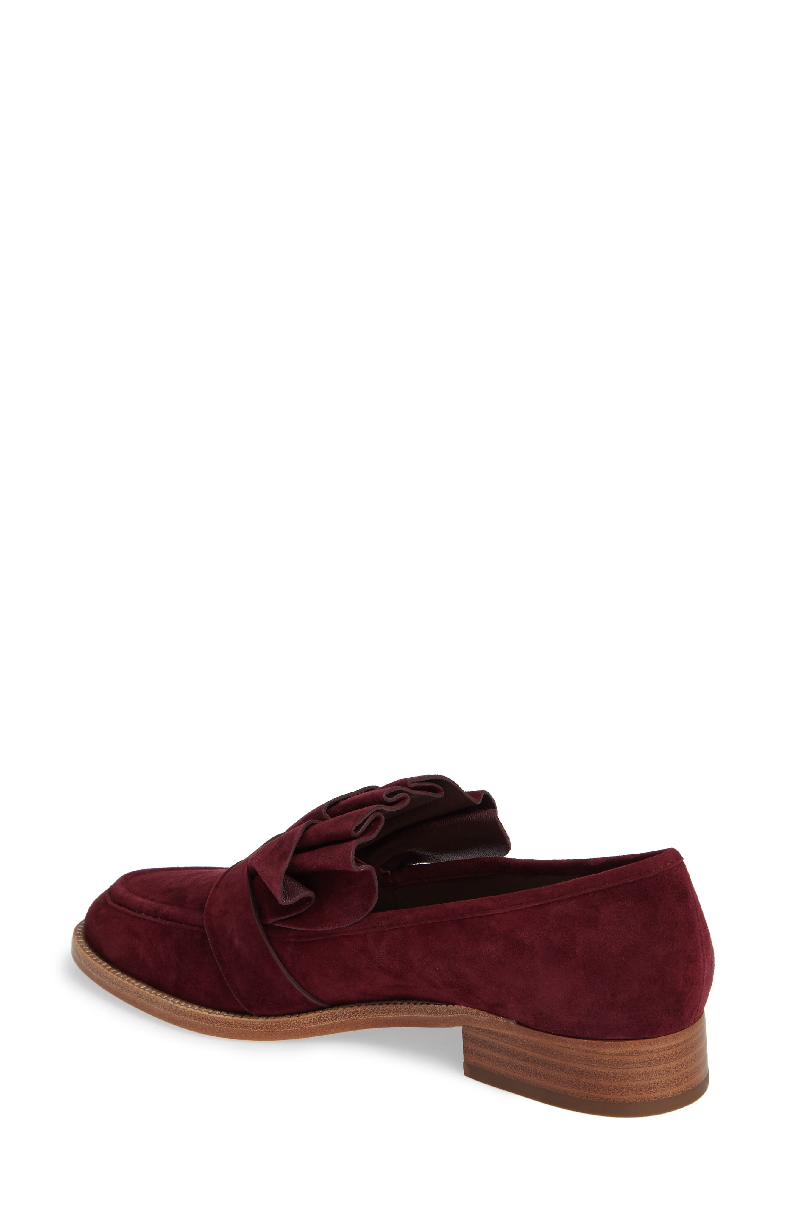 Tenley Ruffled Loafer,                             Alternate thumbnail 2, color,                             Merlot Suede