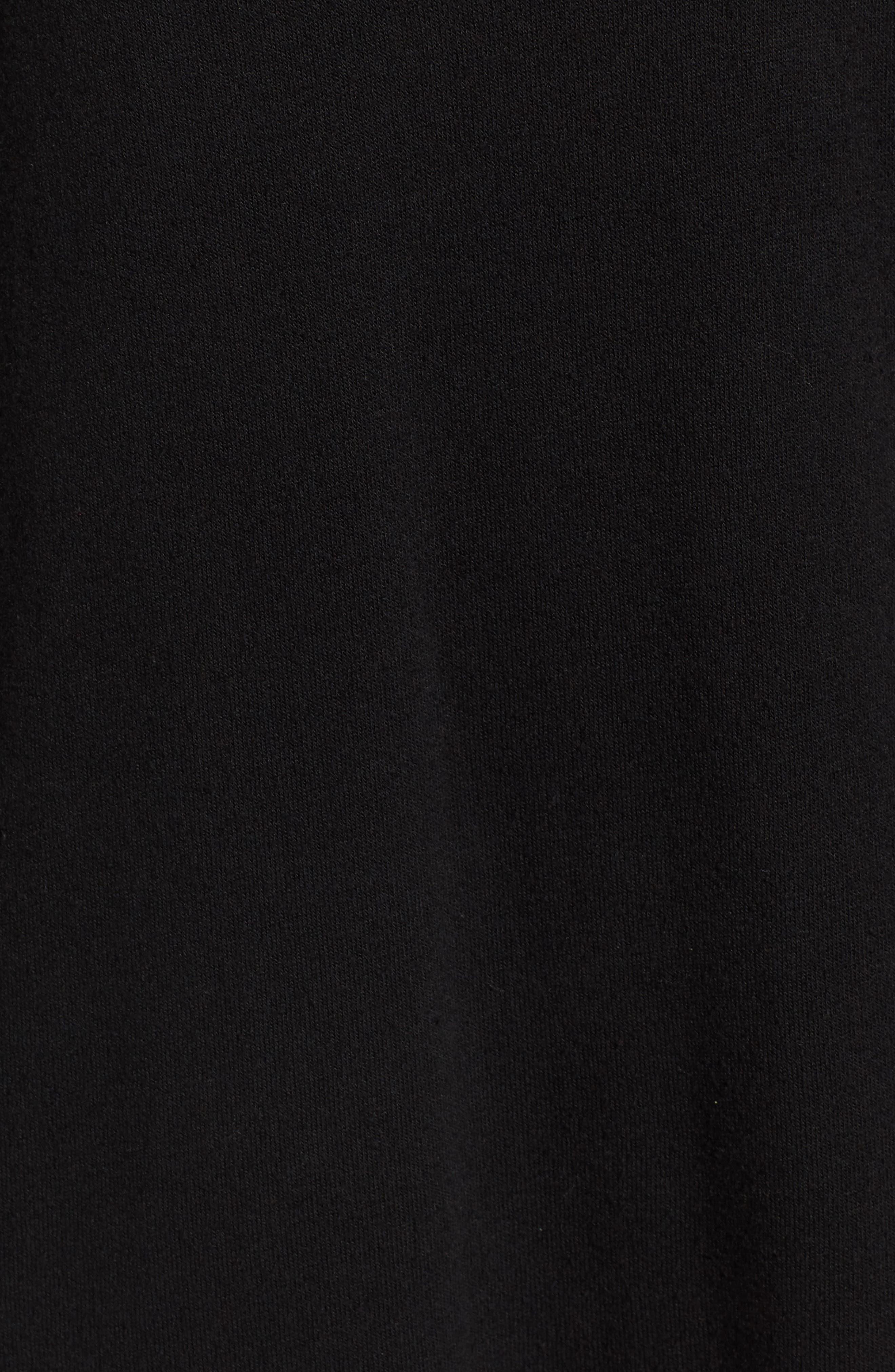 Crest Patch Sweatshirt Dress,                             Alternate thumbnail 5, color,                             Black