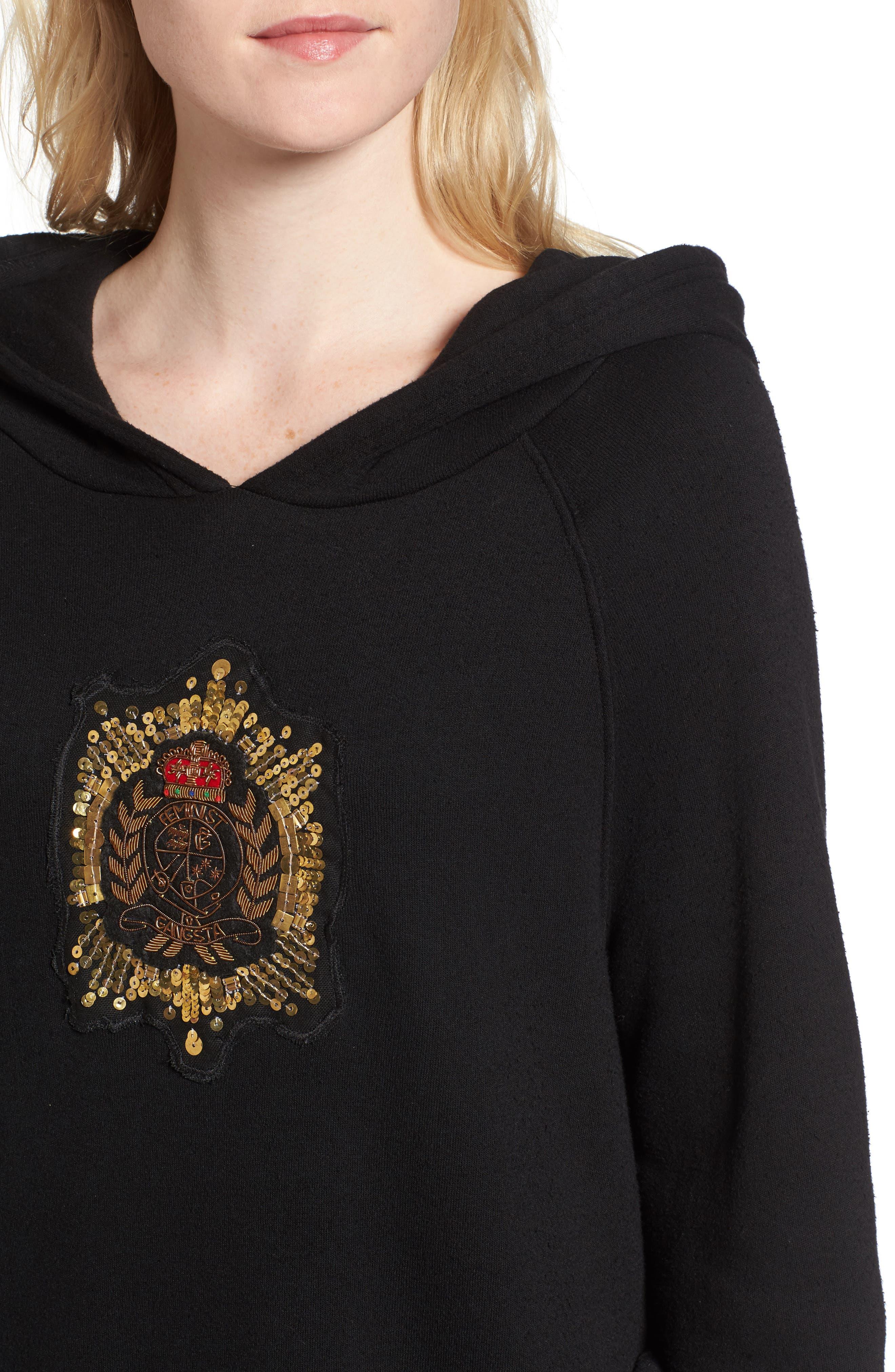 Crest Patch Sweatshirt Dress,                             Alternate thumbnail 4, color,                             Black
