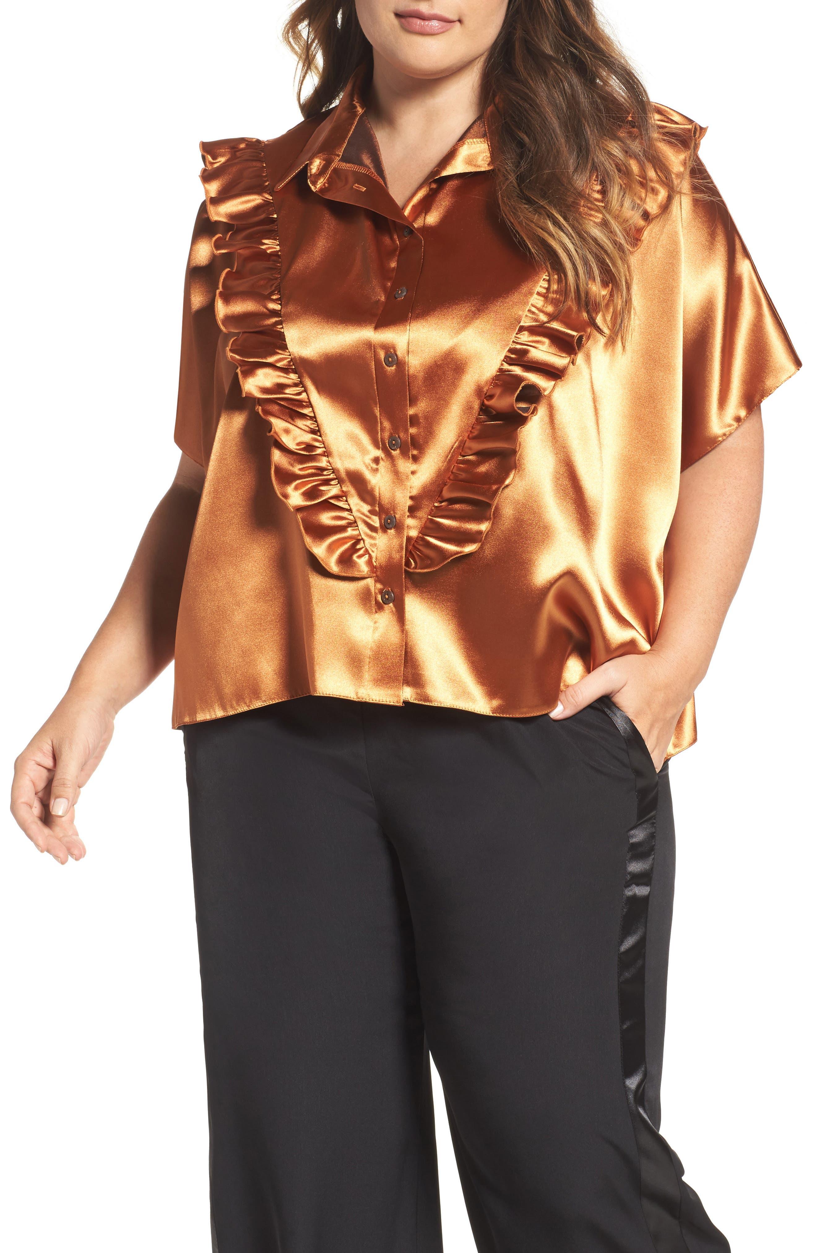 Alternate Image 1 Selected - ELVI Copper Frill Shirt (Plus Size)