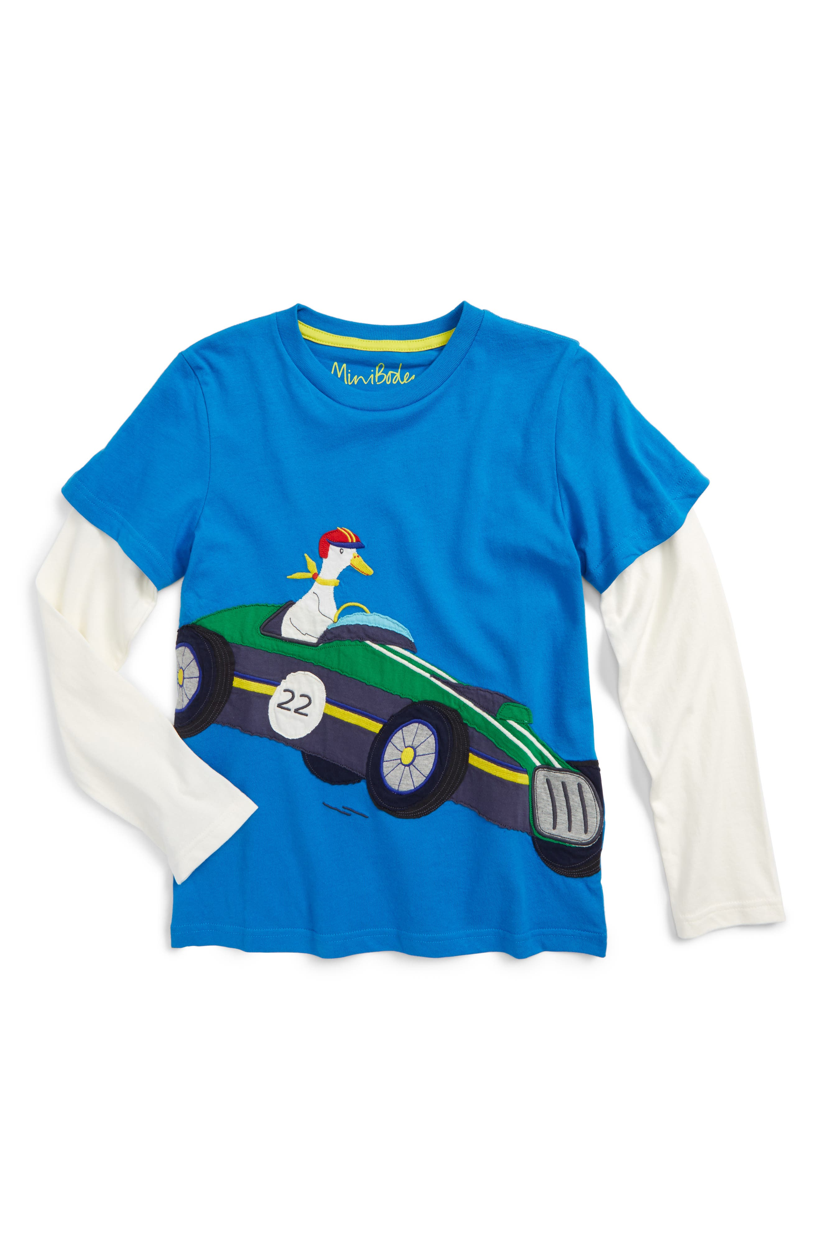 Alternate Image 1 Selected - Mini Boden Vehicle Appliqué Layer T-Shirt (Toddler Boys, Little Boys & Big Boys)