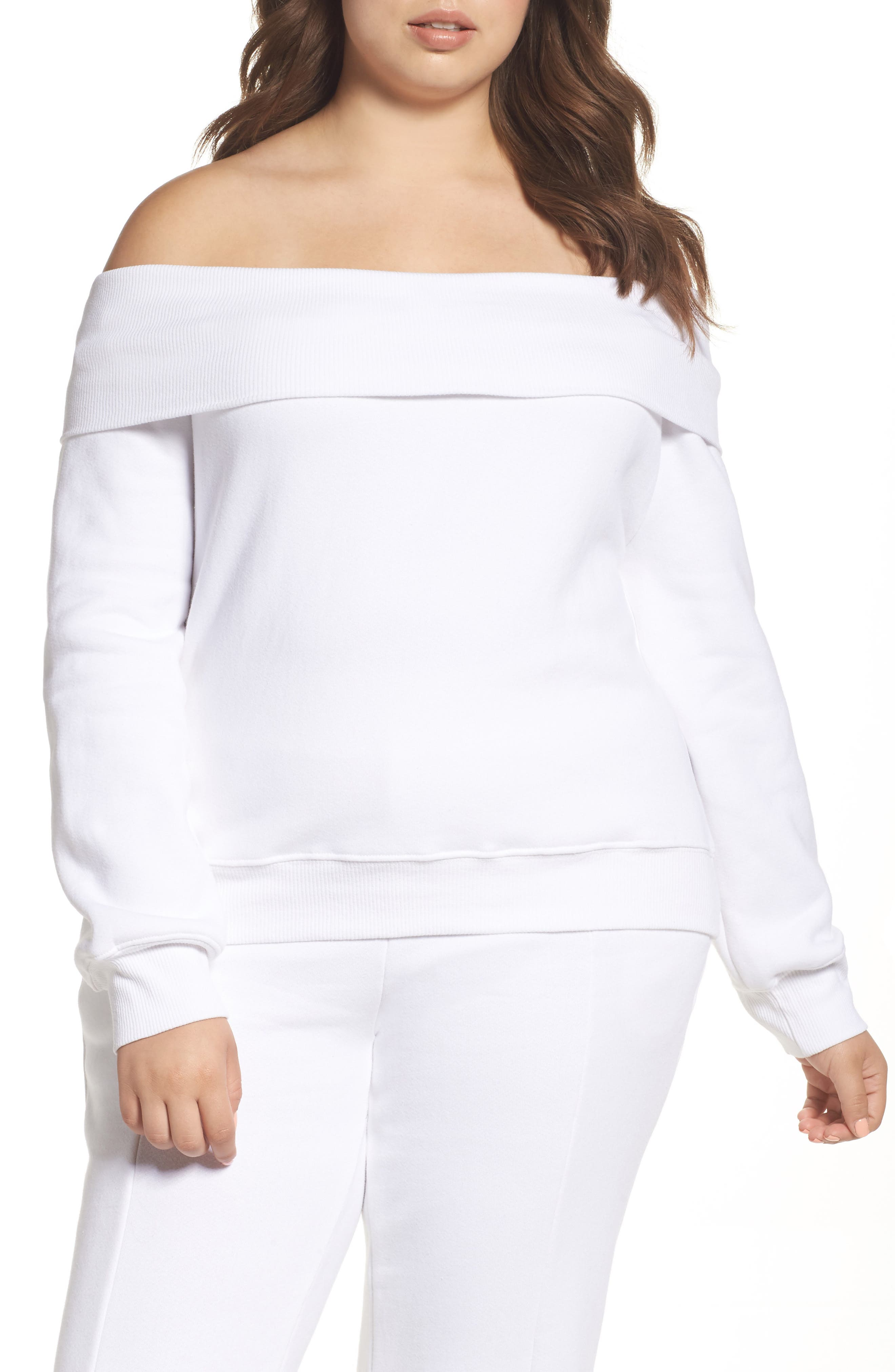 Alternate Image 5  - Good American Good Sweats The Cold Shoulder Sweatshirt (Regular & Plus Size)