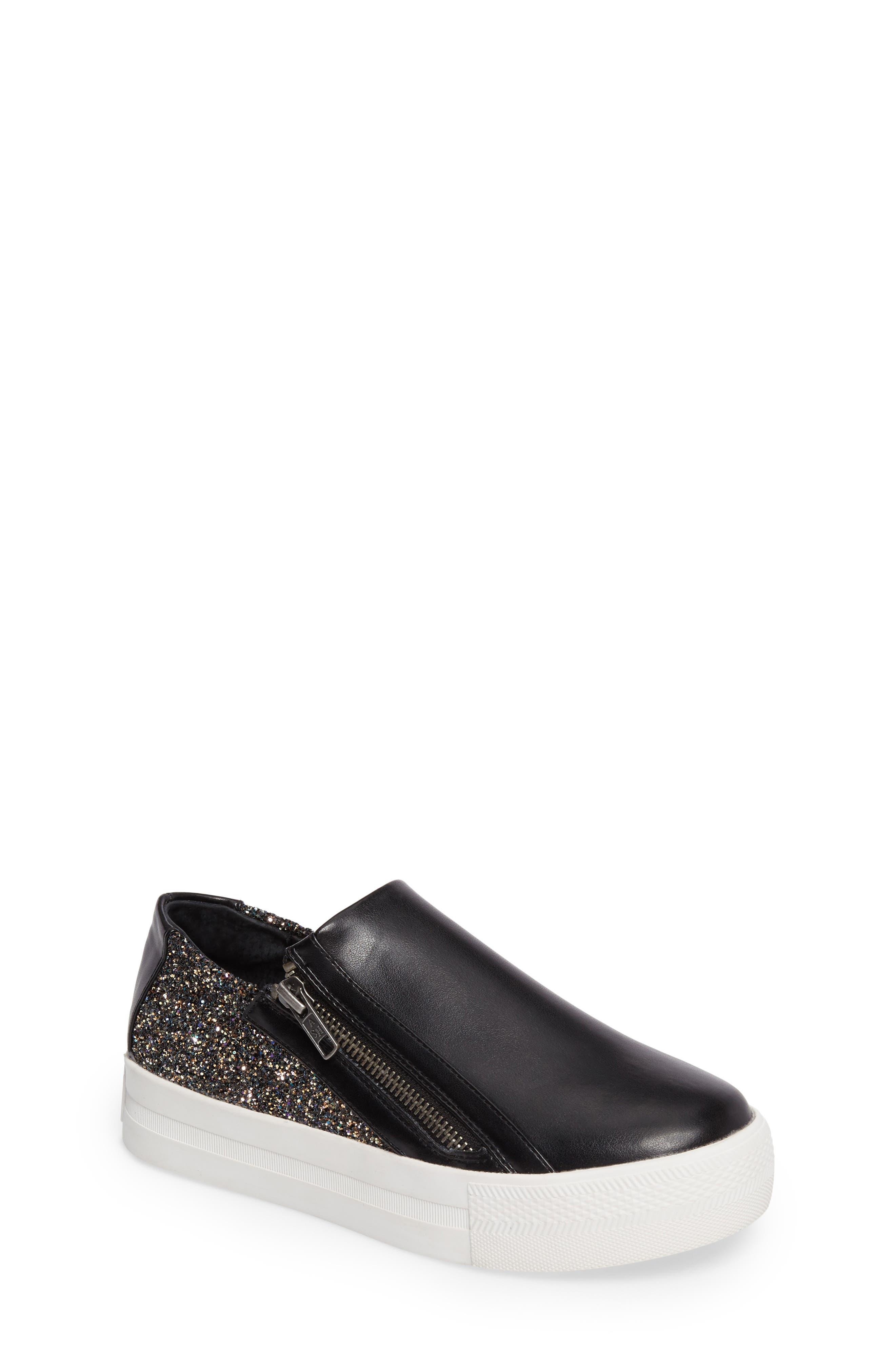 Lynn Monica Glittery Zip Sneaker,                         Main,                         color, Black Faux Leather