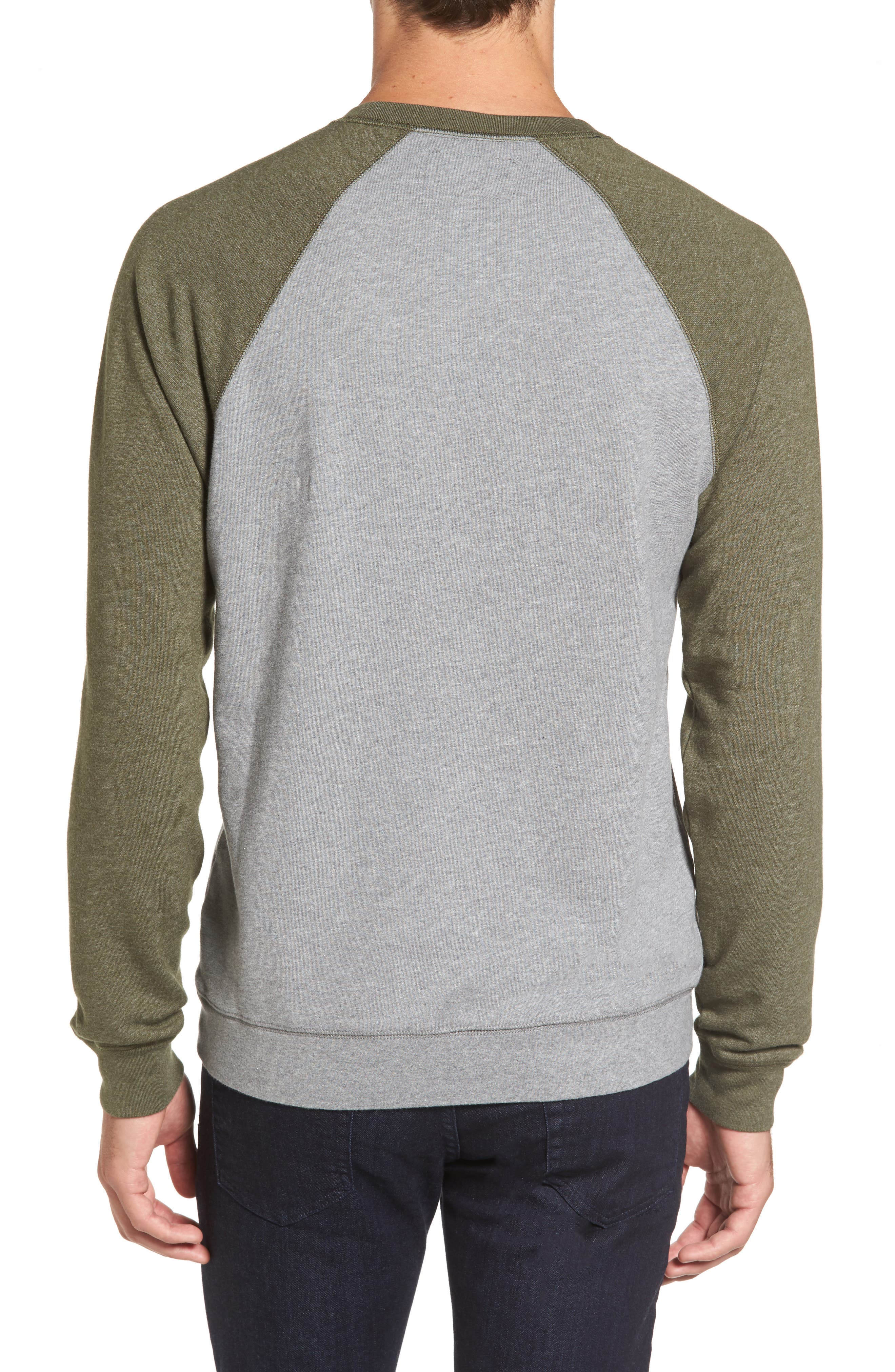 Colorblock French Terry Sweatshirt,                             Alternate thumbnail 2, color,                             Med Grey Army Heather