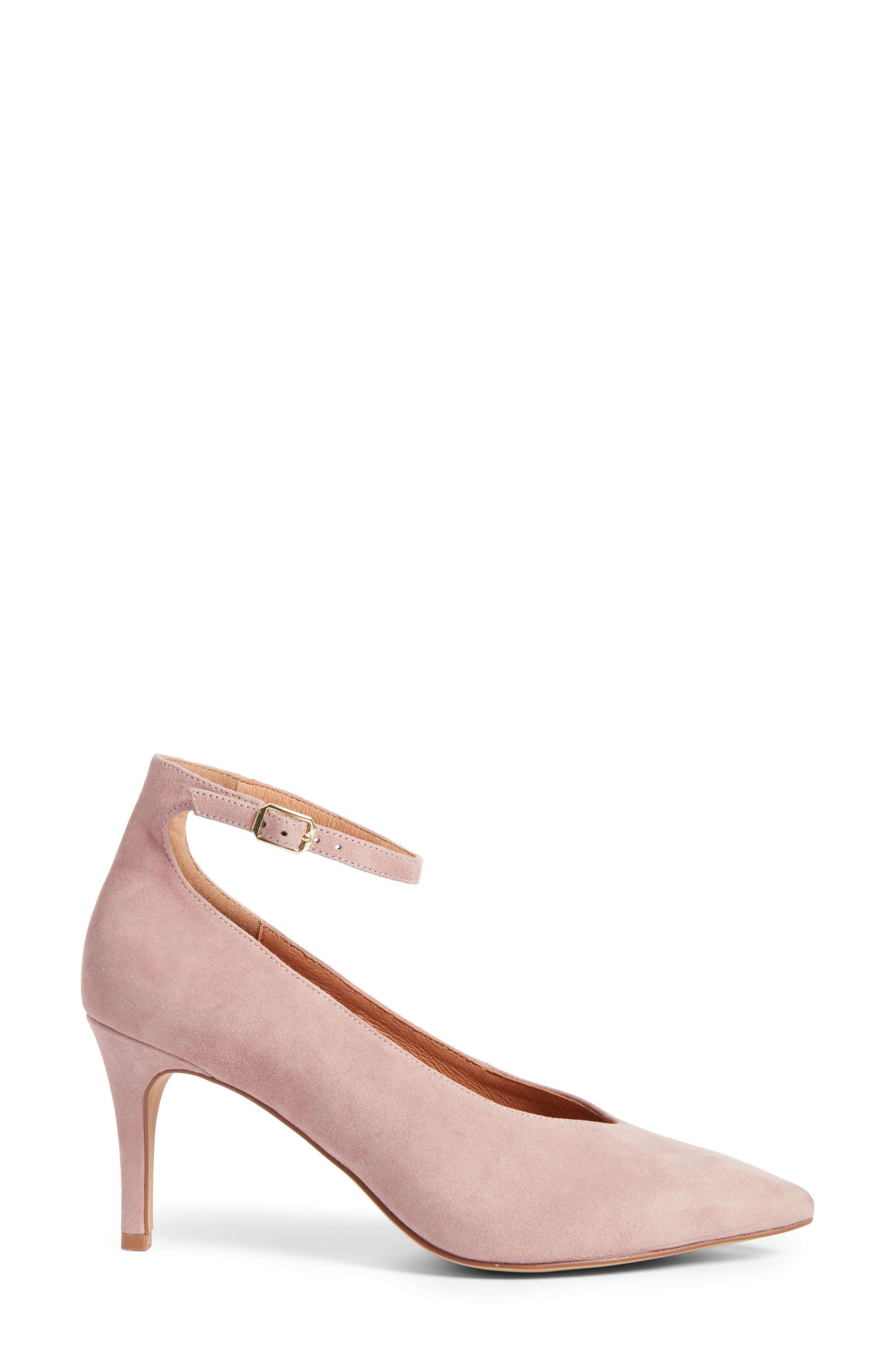 Azaela Ankle Strap Pump,                             Alternate thumbnail 4, color,                             Dark Pink Suede