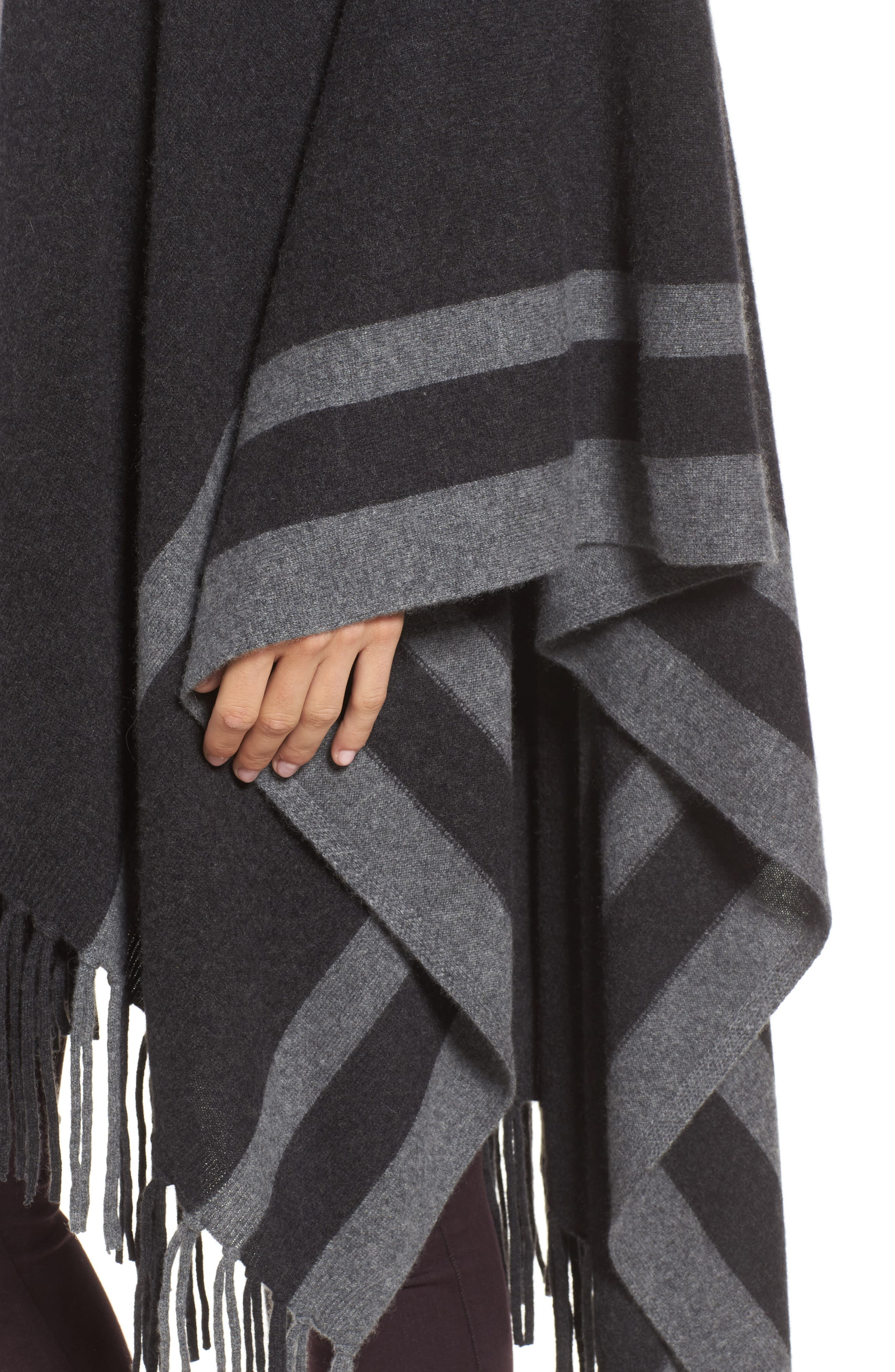 Luxe Stripe Cashmere Ruana,                             Alternate thumbnail 4, color,                             Black Rock Heather Combo