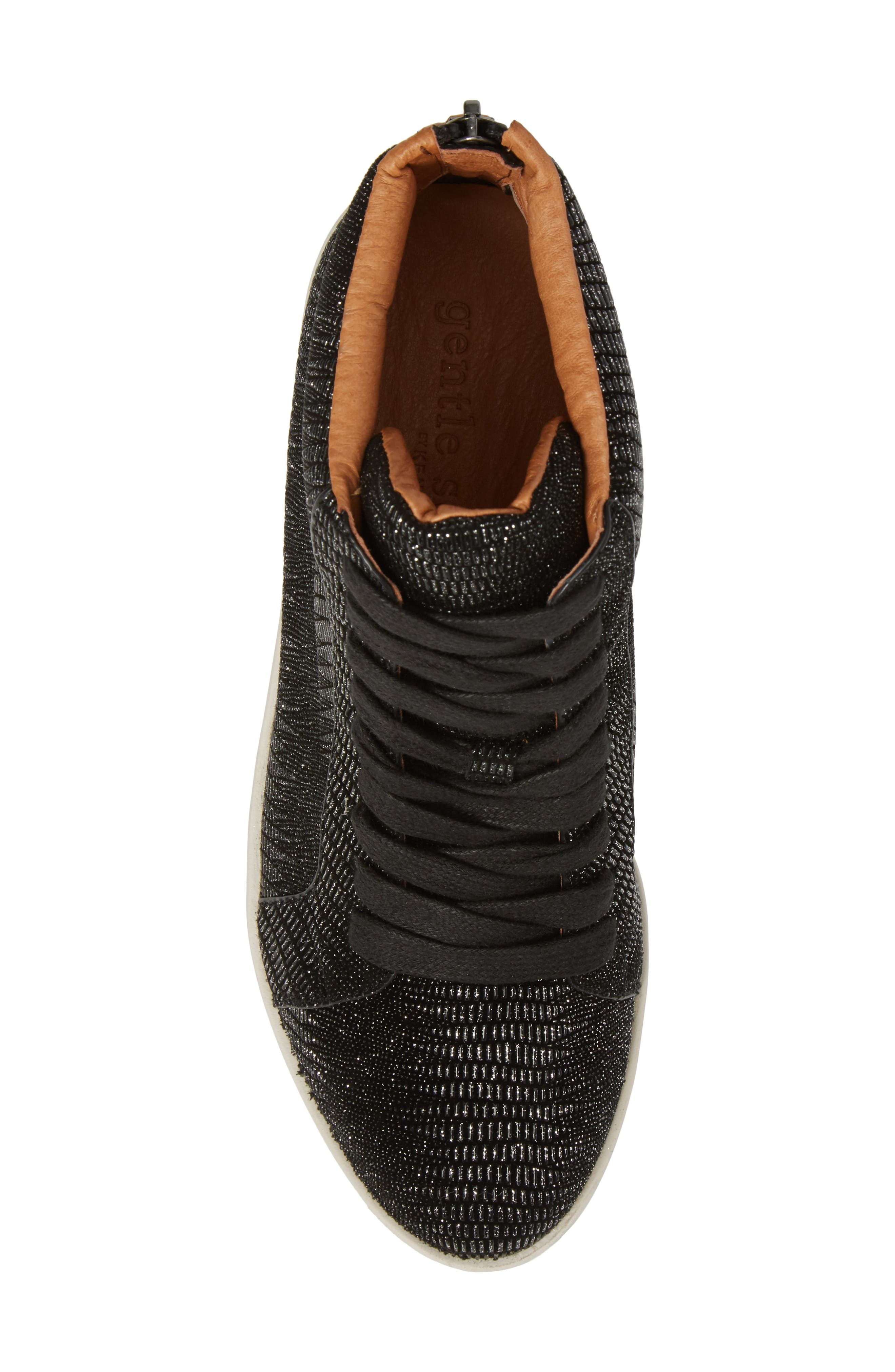 Helka High Top Sneaker,                             Alternate thumbnail 5, color,                             Black Metallic Leather