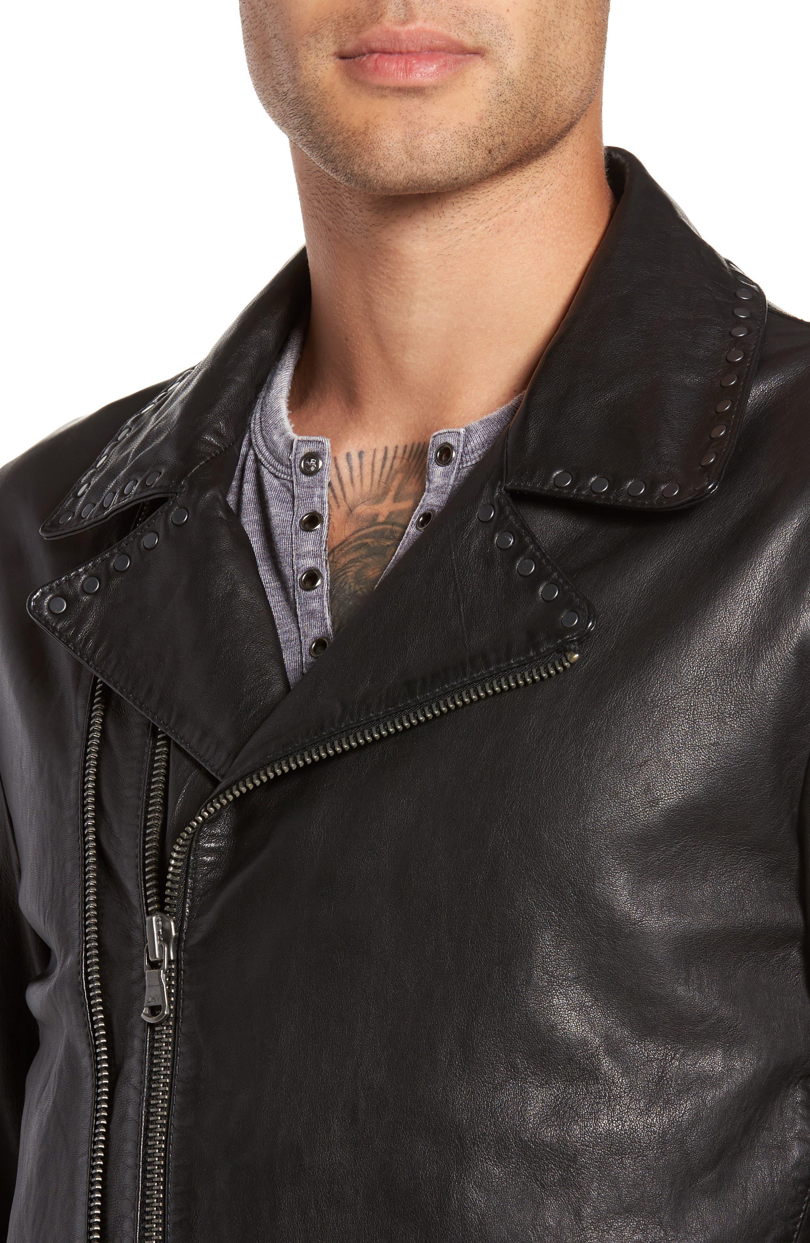 Alternate Image 4  - John Varvatos Star USA Studded Collar Leather Jacket