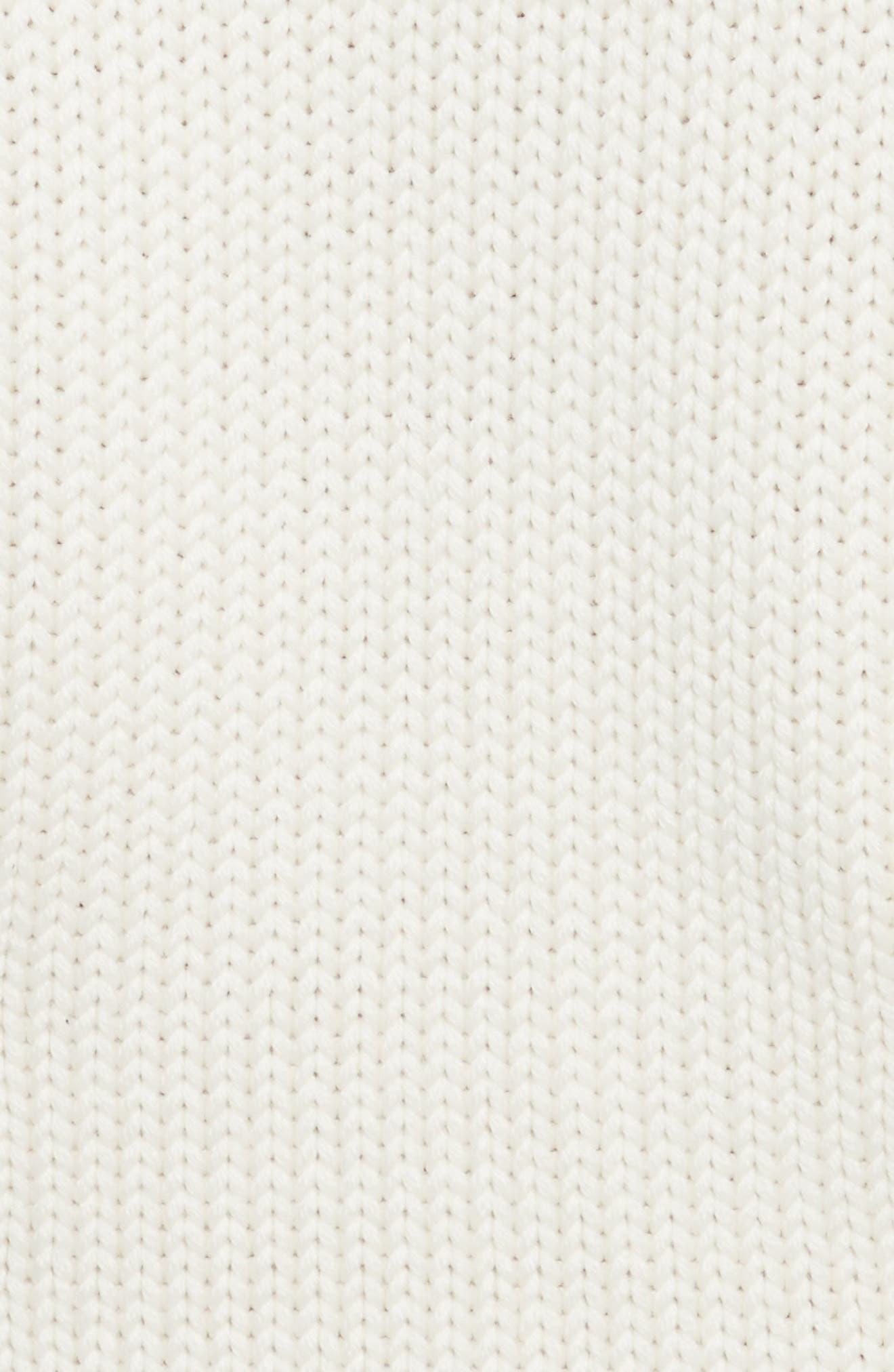 Lace-Up Turtleneck Sweater Dress,                             Alternate thumbnail 6, color,                             Ivory