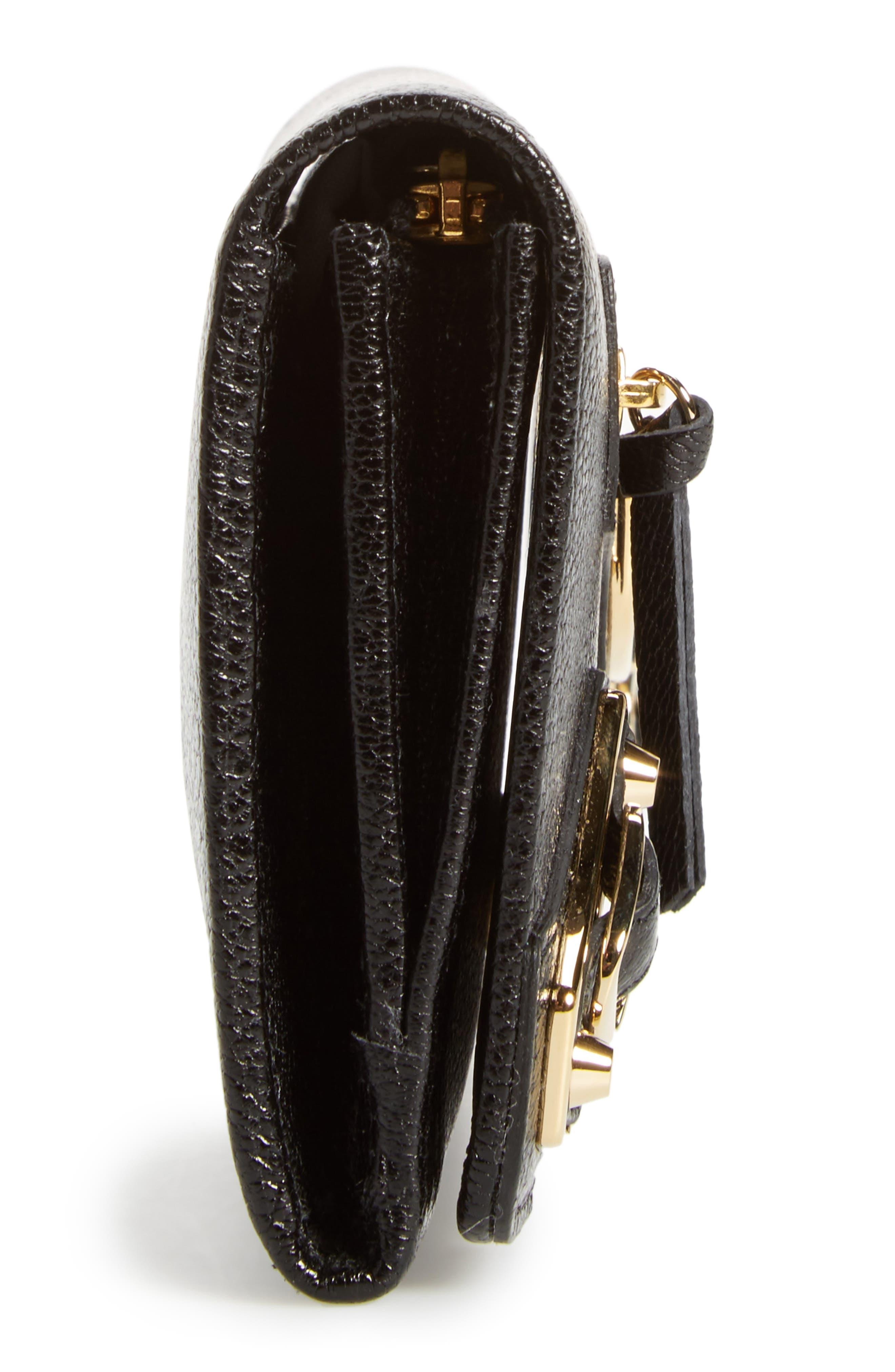 Metallic Edge Leather Wallet,                             Alternate thumbnail 5, color,                             Noir