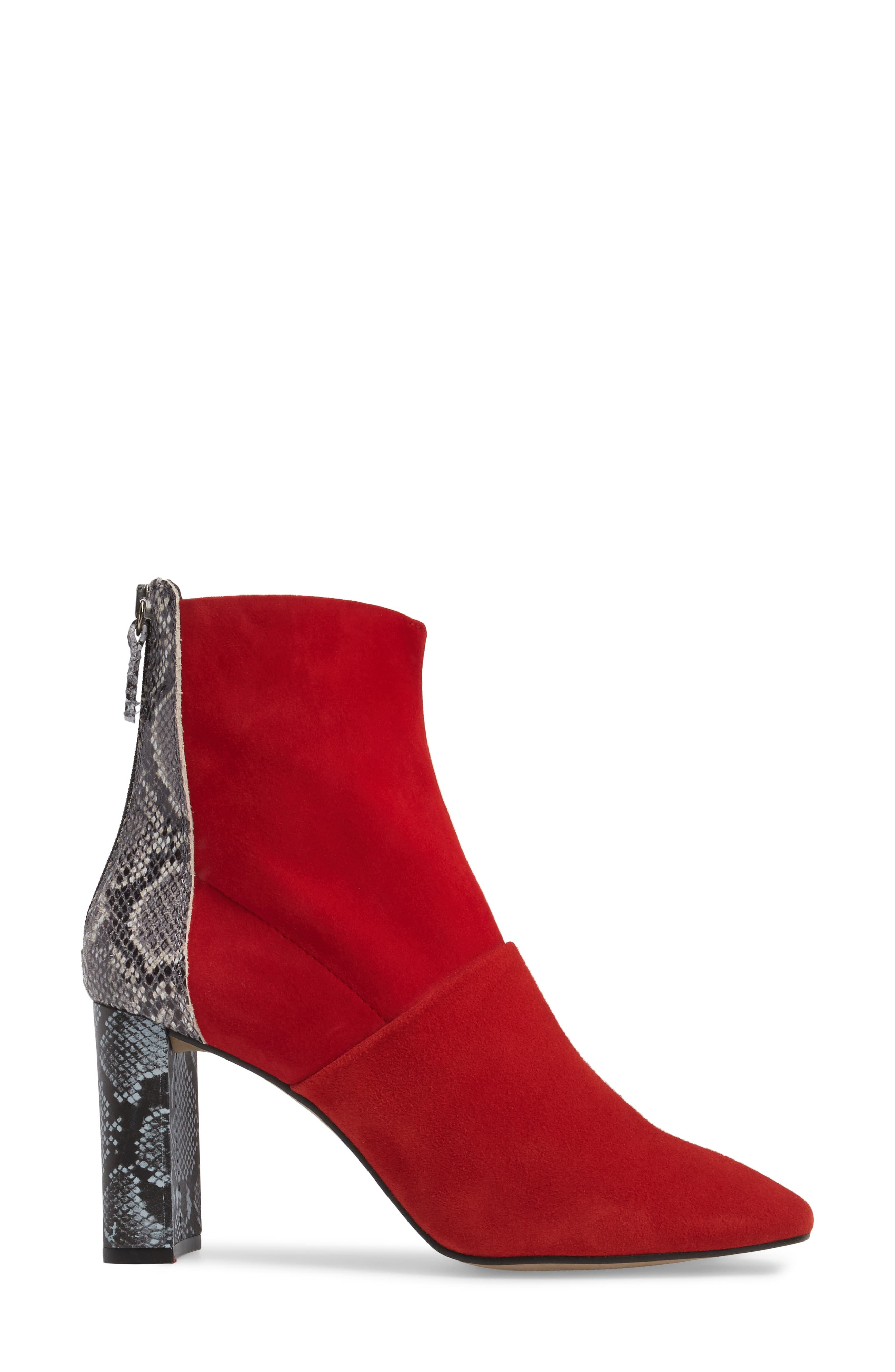 Hunk Snake-Textured Bootie,                             Alternate thumbnail 3, color,                             Red Multi
