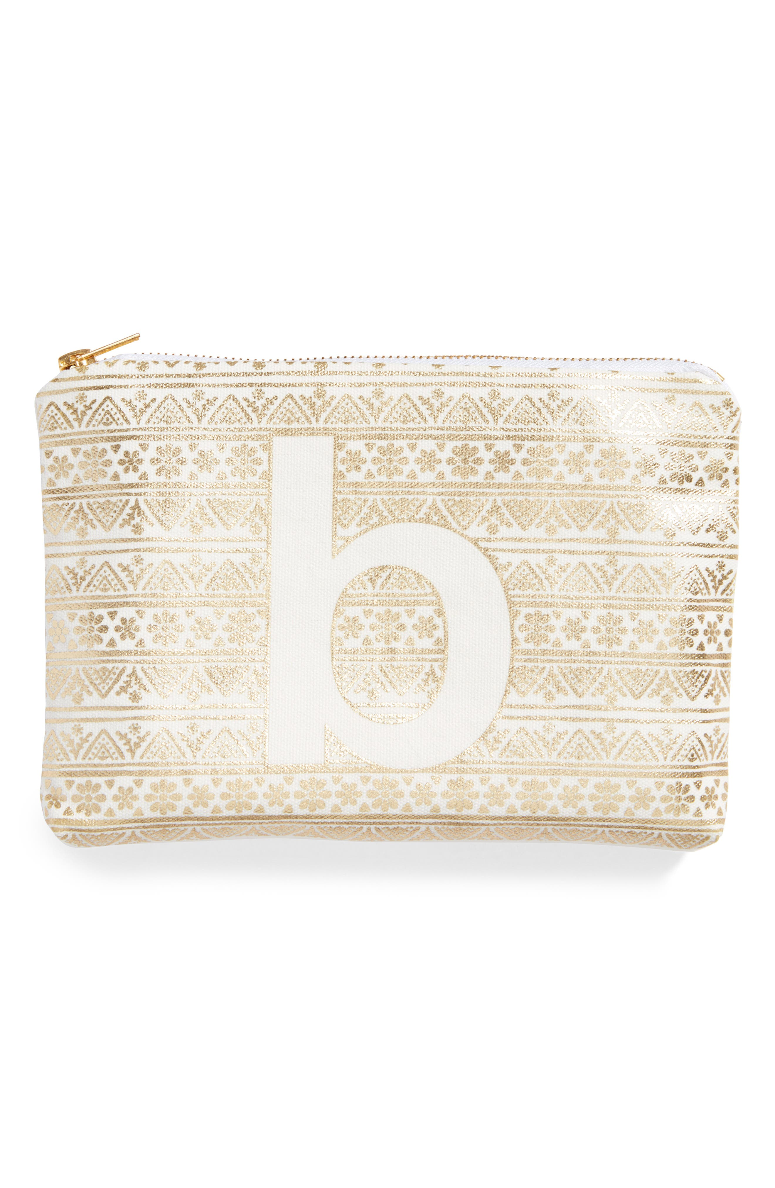 Monogram Zip Pouch,                         Main,                         color, Gold-B