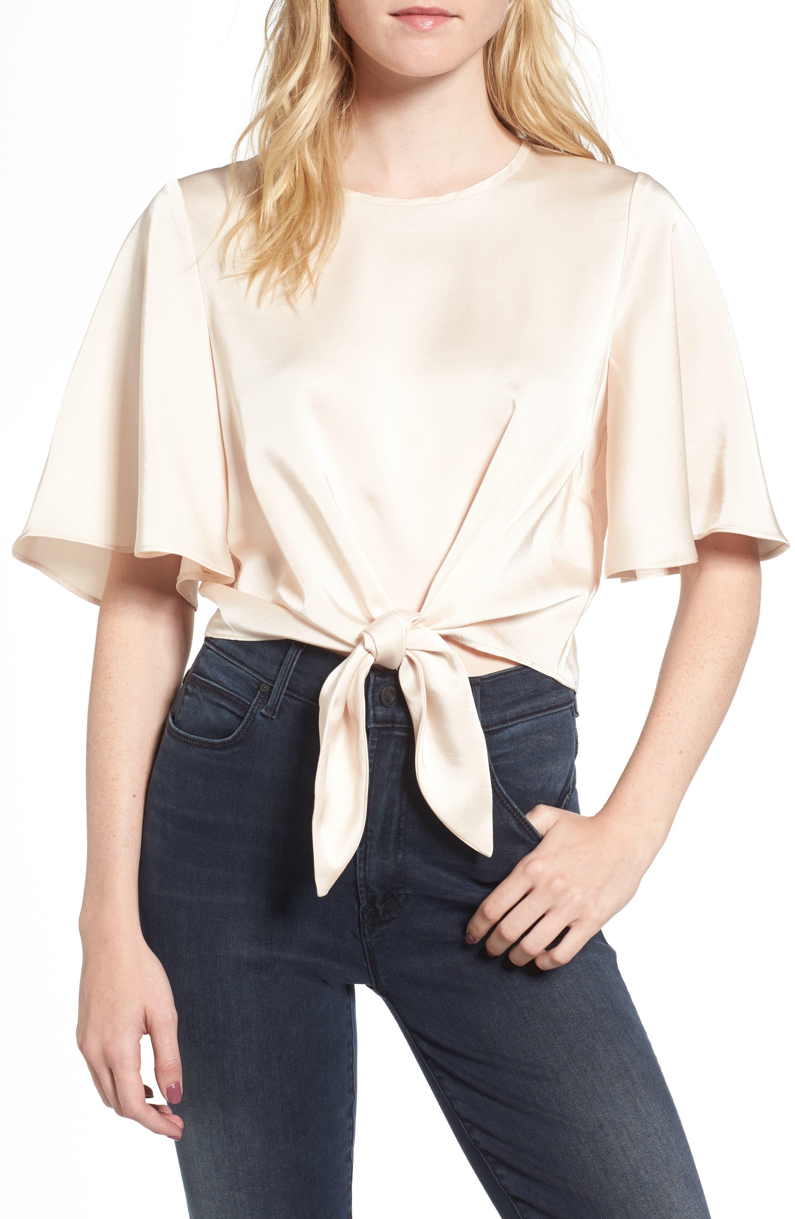 Vero Tie Front Satin Blouse,                         Main,                         color, Cream