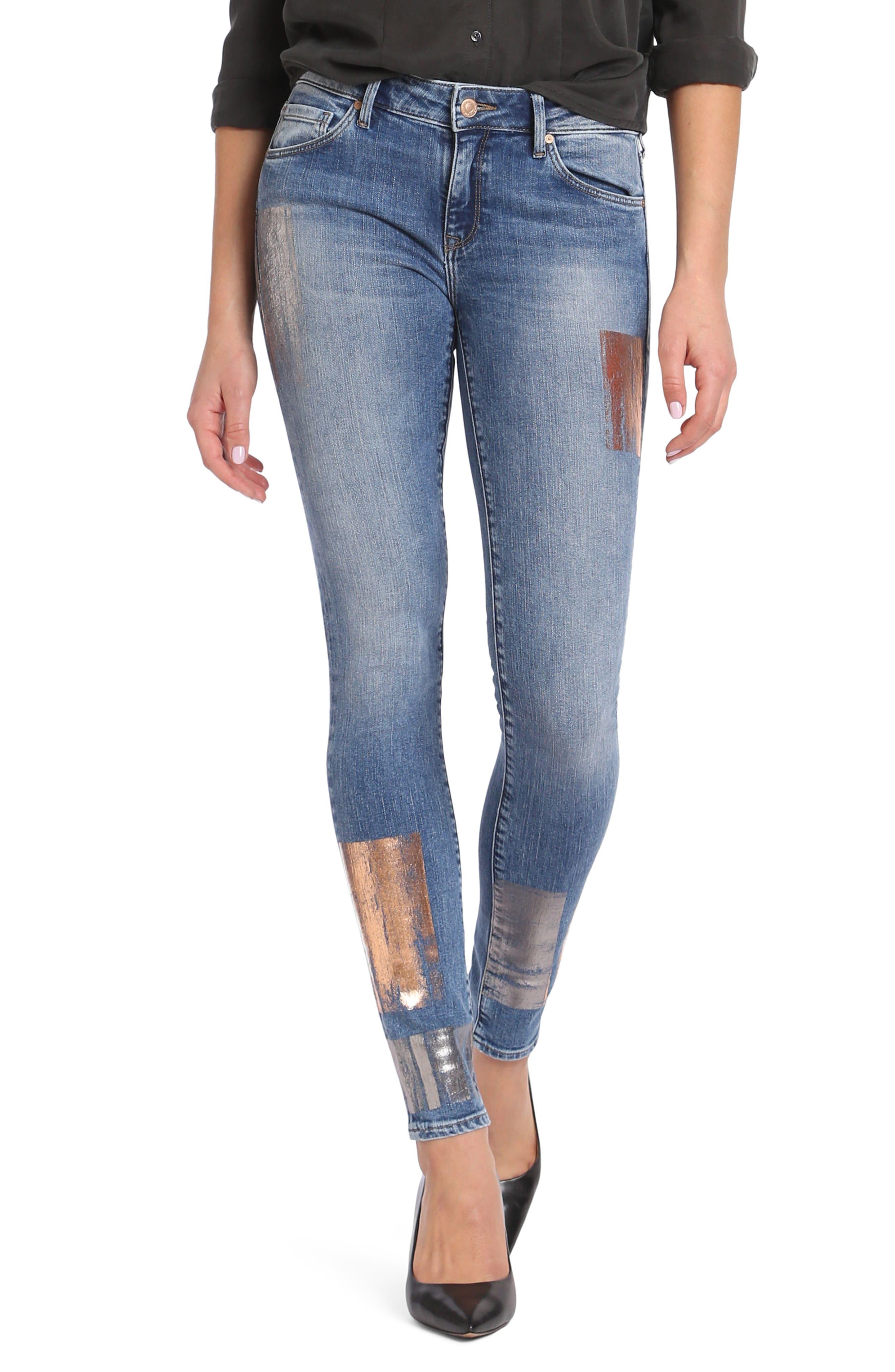 Adriana Stretch Skinny Jeans,                         Main,                         color, Galactic Patch Indigo