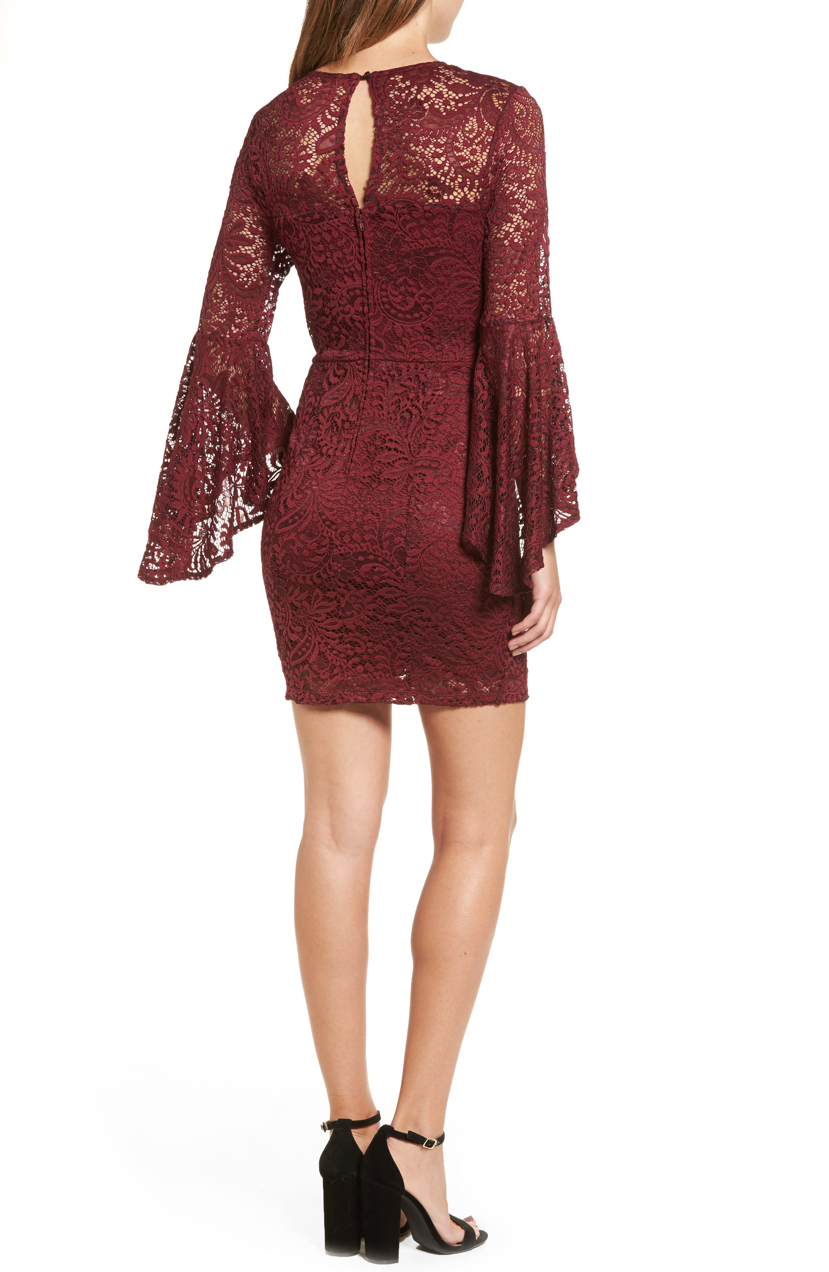 Lace Bell Sleeve Dress,                             Alternate thumbnail 2, color,                             Burgundy