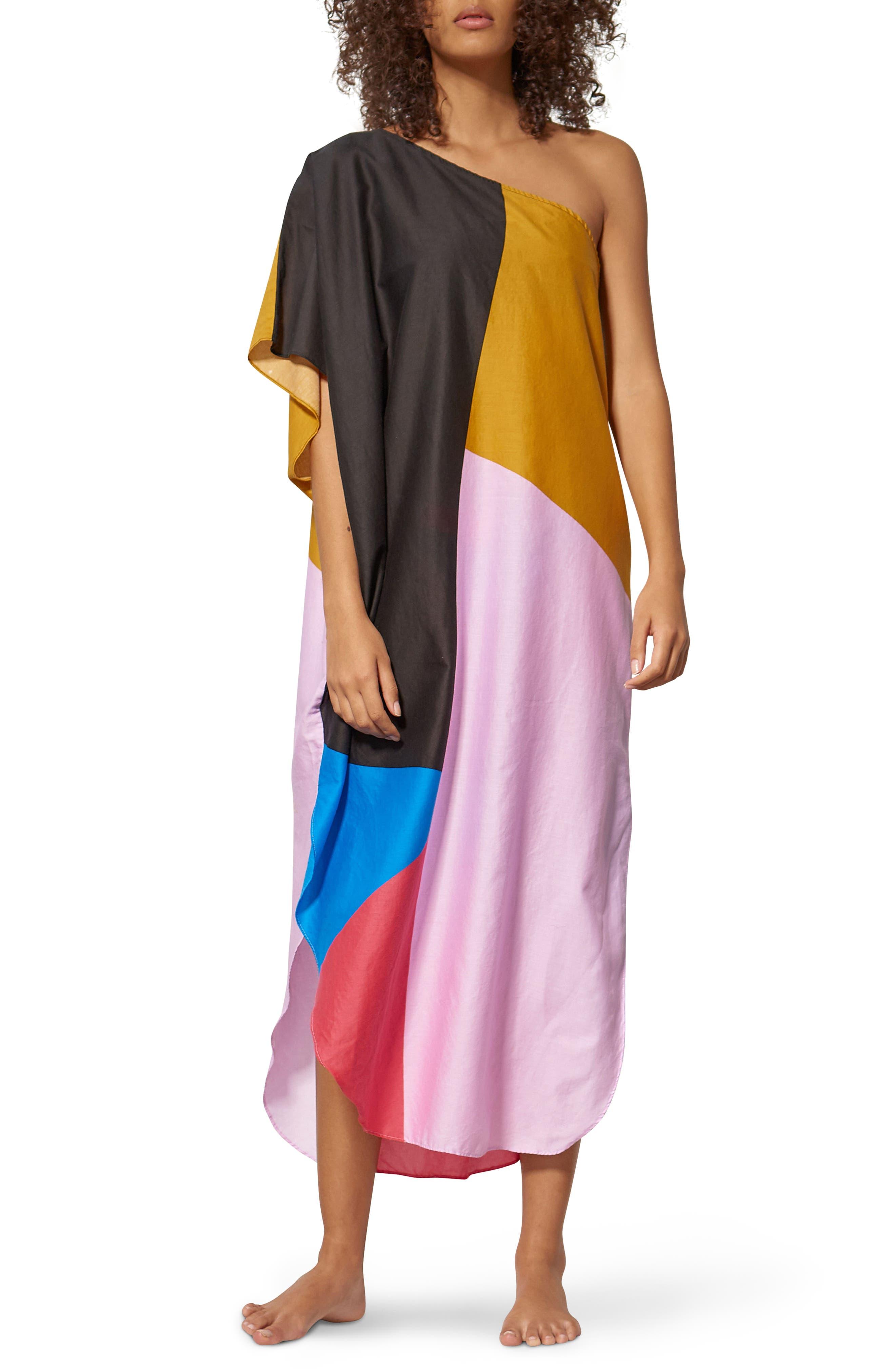 Noa One-Shoulder Cover-Up Maxi Dress,                         Main,                         color, Blue Multi