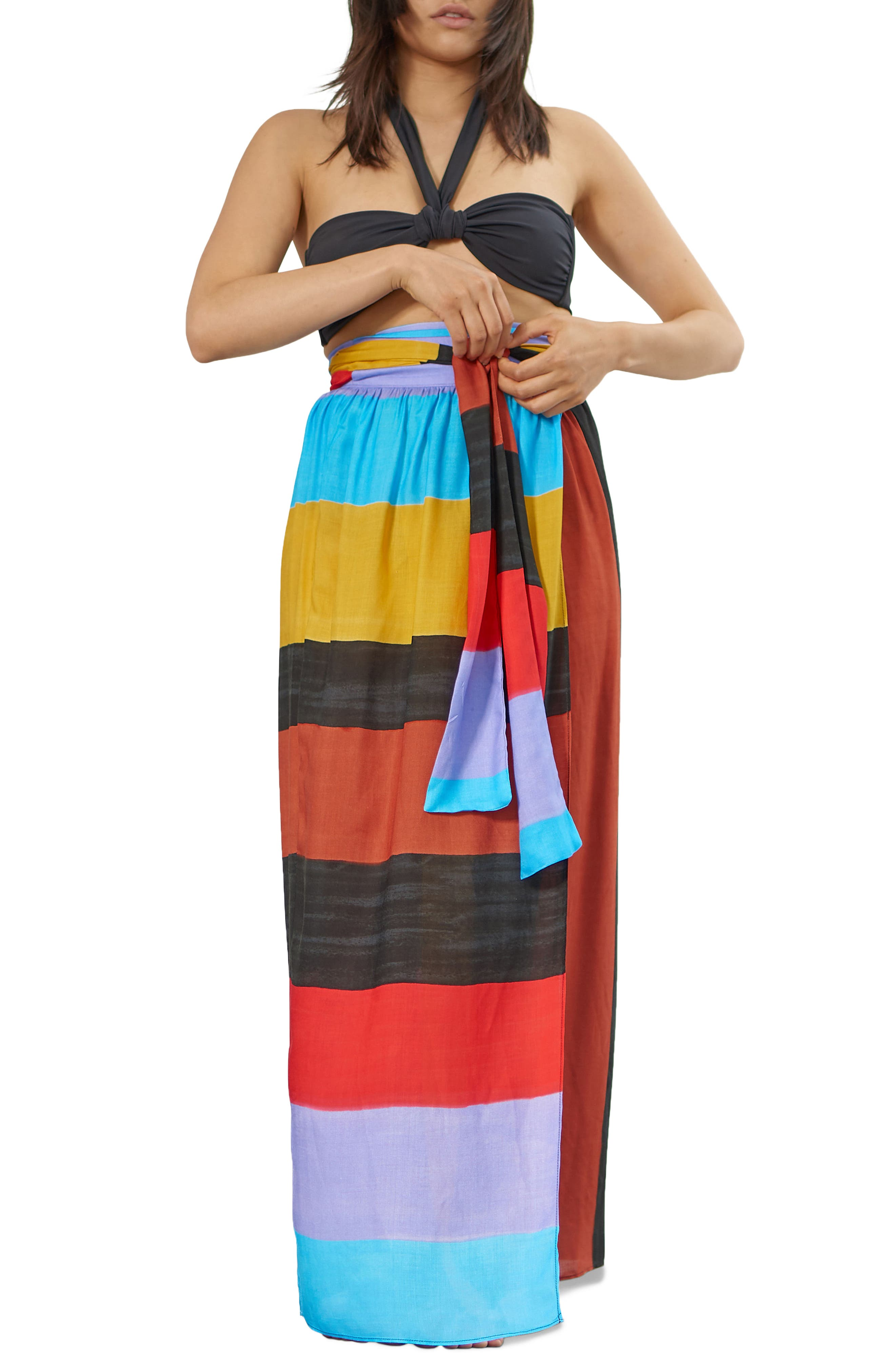 Cora Stripe Cover-Up Skirt,                         Main,                         color, Black Multi