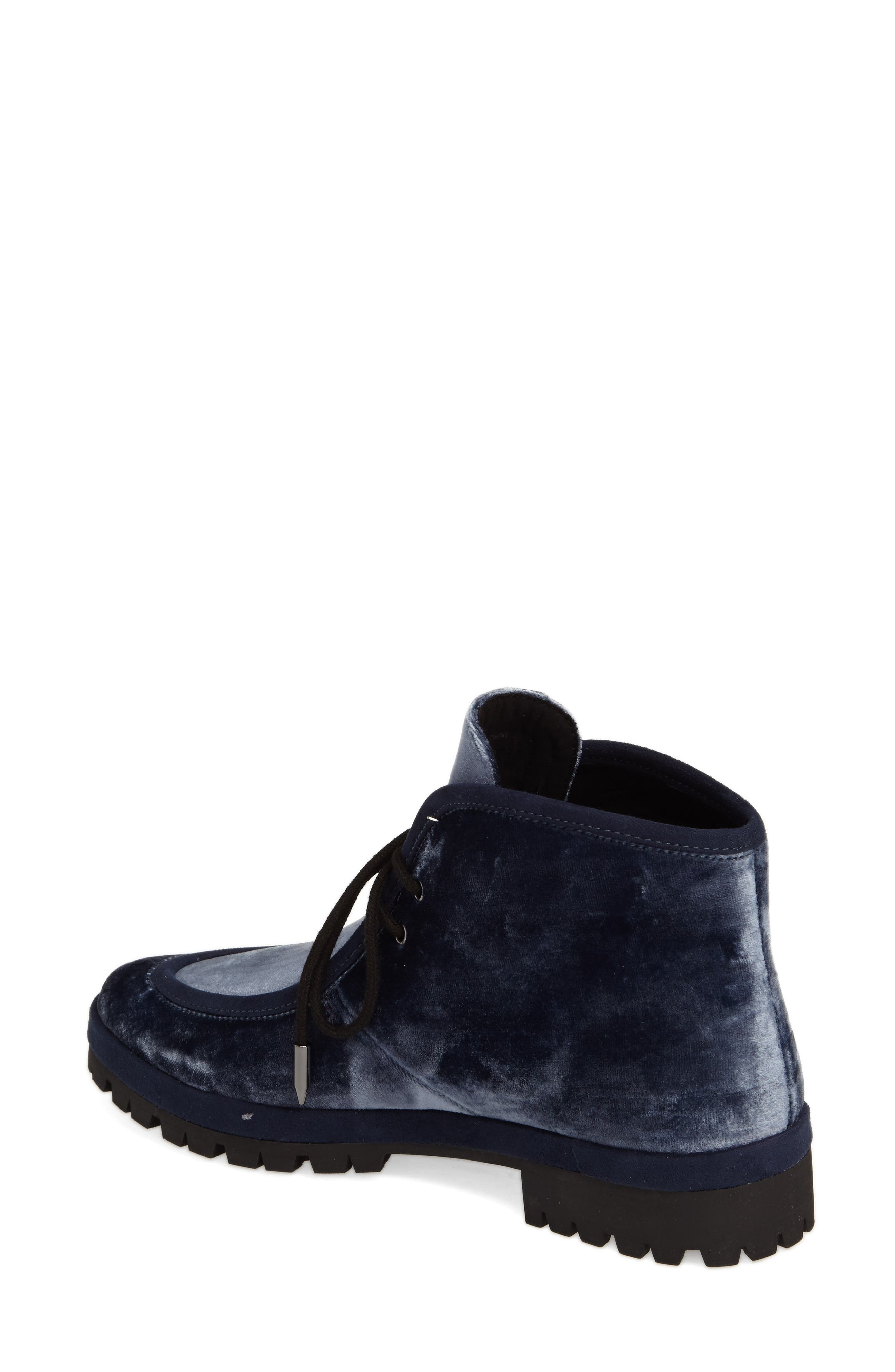 Demi Lace-Up Bootie,                             Alternate thumbnail 2, color,                             Midnight Navy Velvet