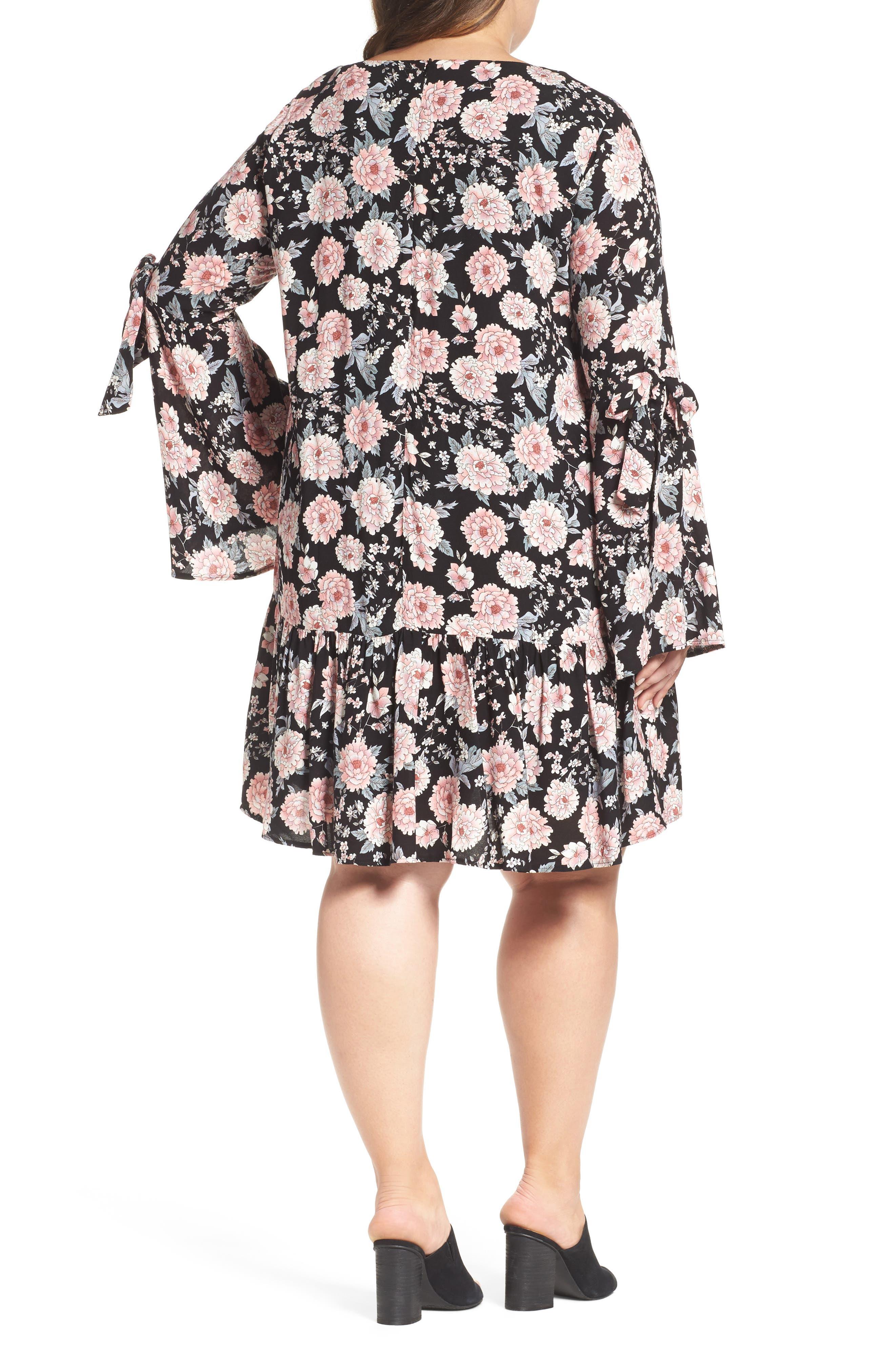 Alternate Image 2  - Glamorous Drop Waist Bell Sleeve Shift Dress (Plus Size)