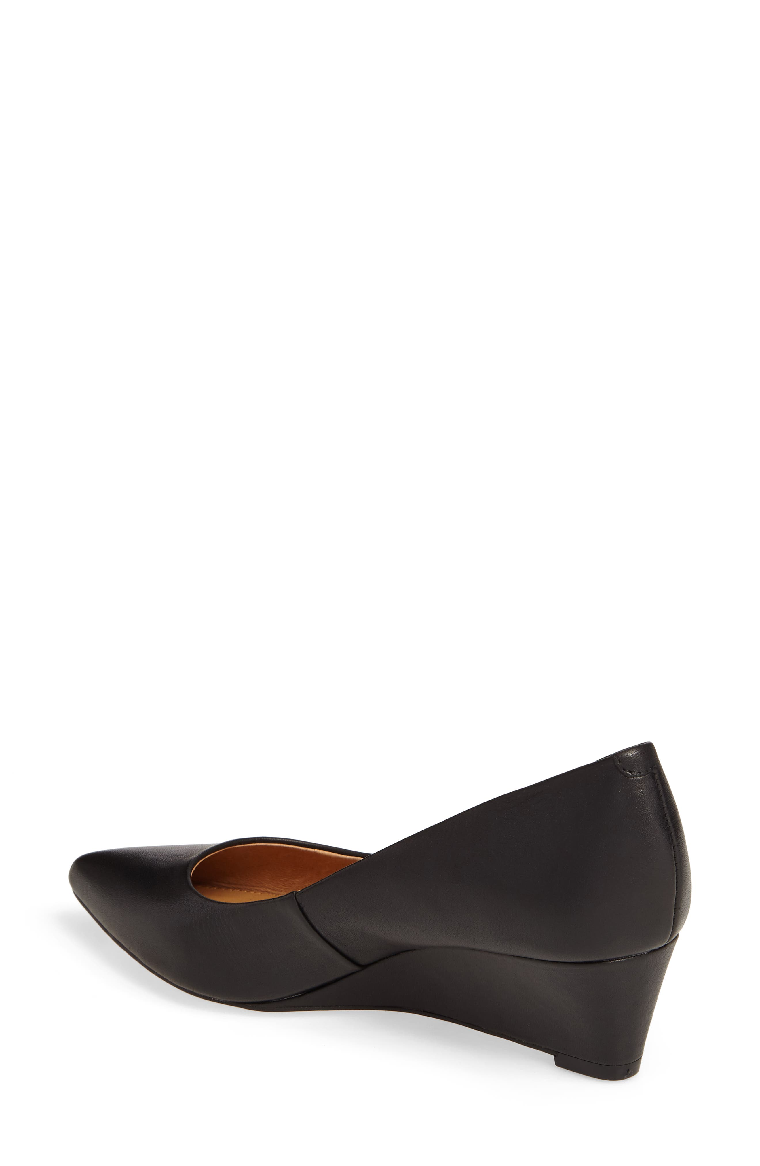 Nelly Pointy Toe Wedge Pump,                             Alternate thumbnail 2, color,                             Black Leather