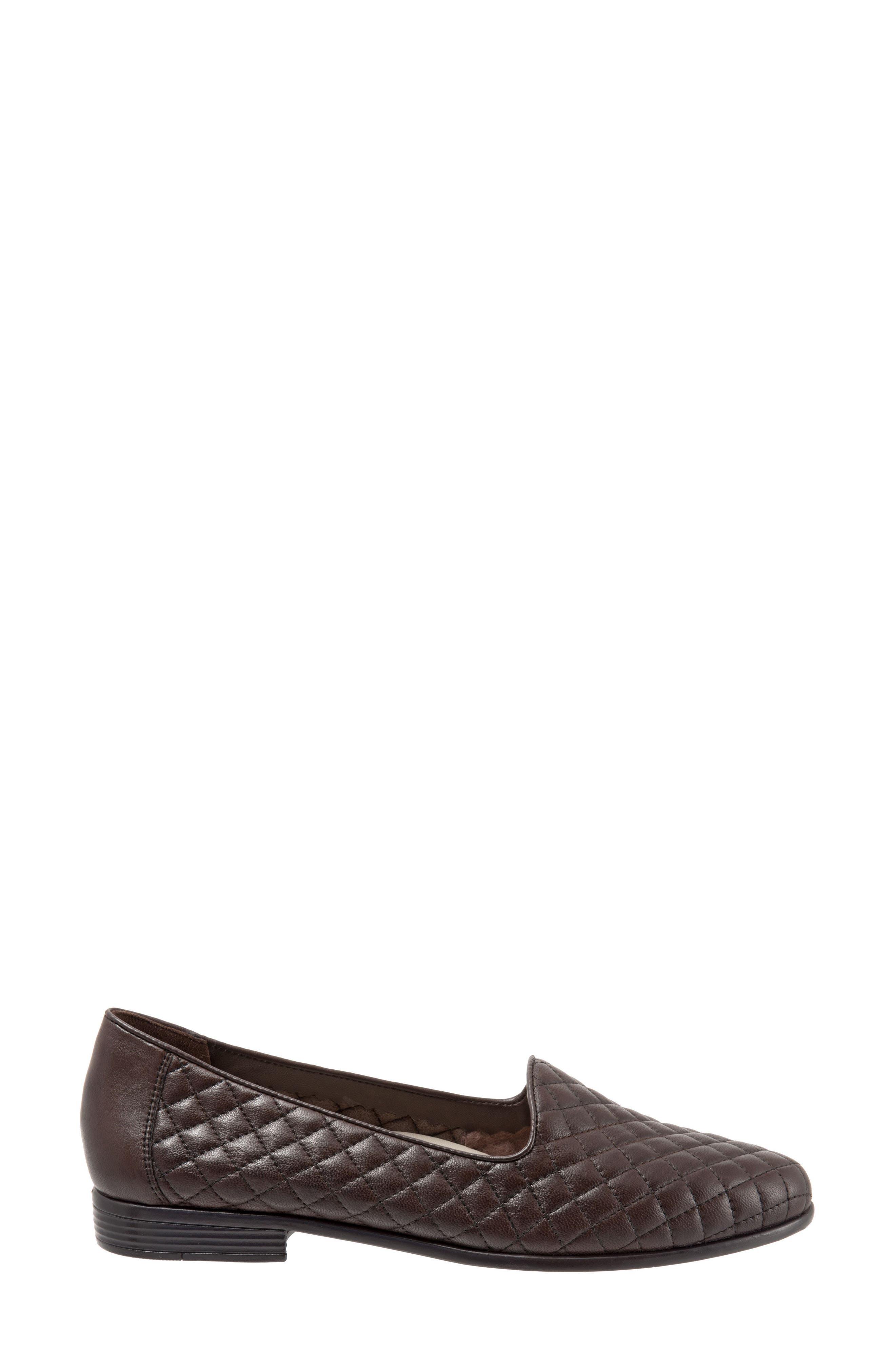Liz Woven Loafer Flat,                             Alternate thumbnail 3, color,                             Dark Brown Leather