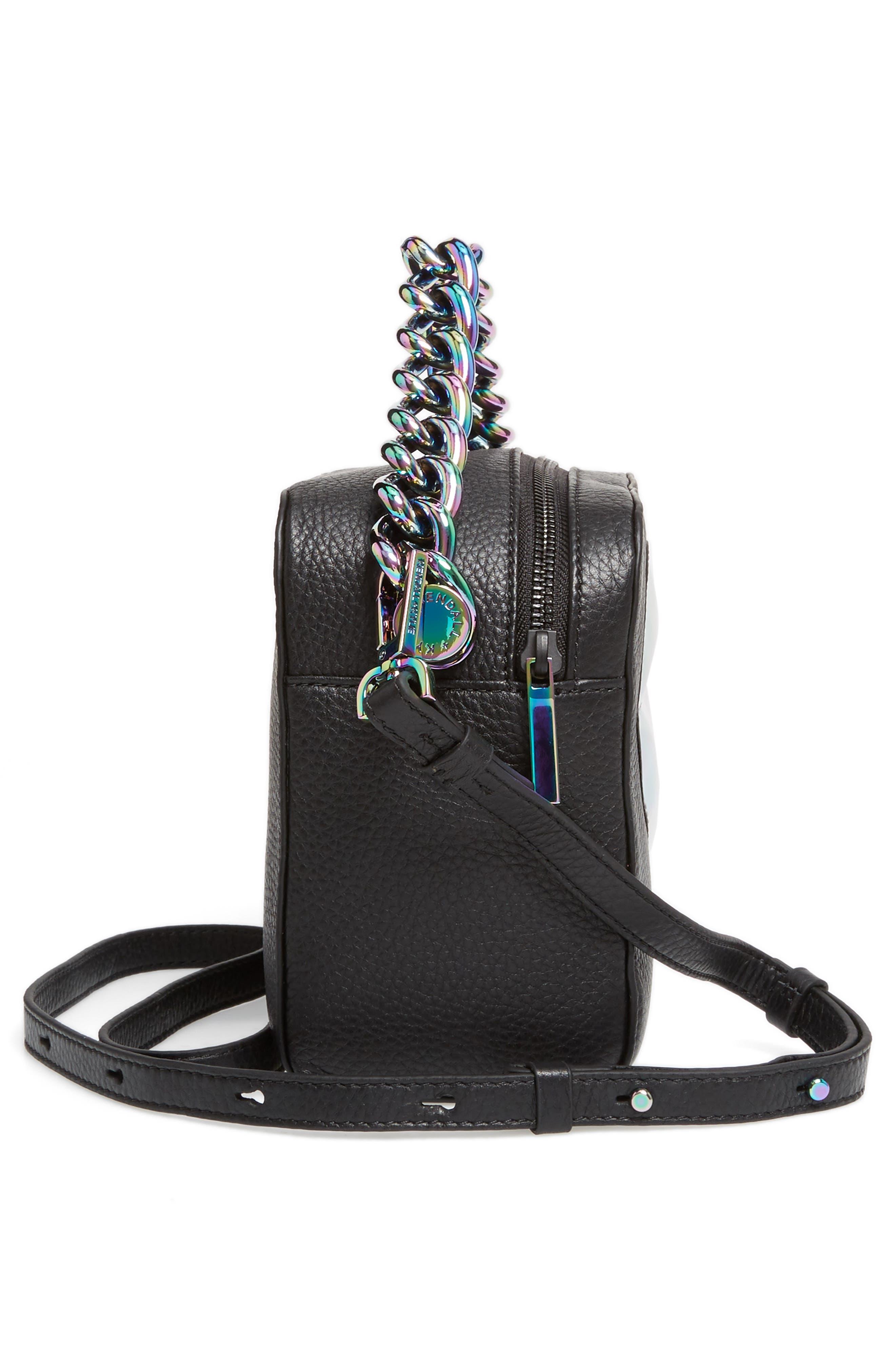 Lucy Lips Crossbody Bag,                             Alternate thumbnail 4, color,                             Black