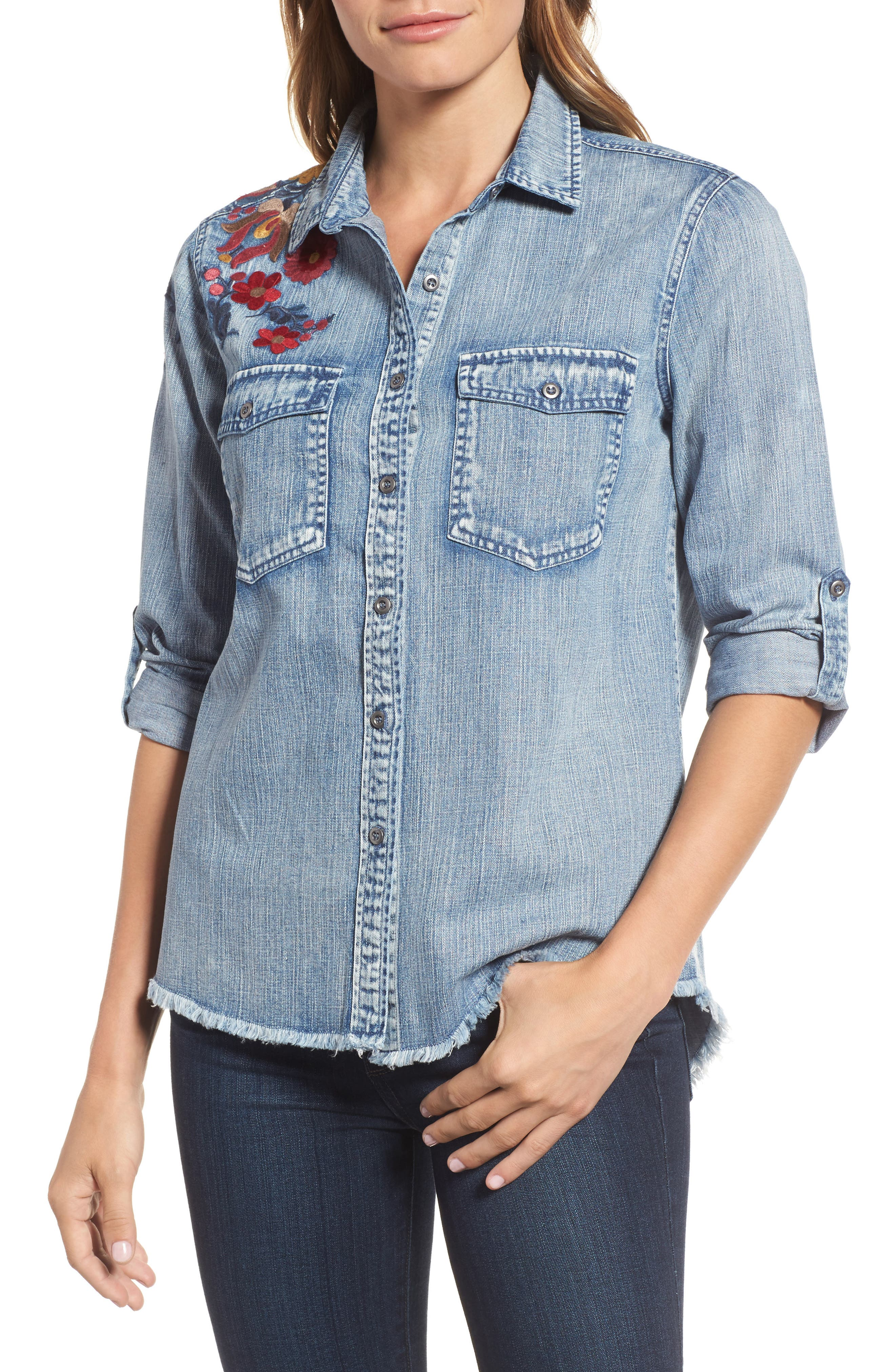 Roll Sleeve Embroidered Shirt,                         Main,                         color, Denim Blue
