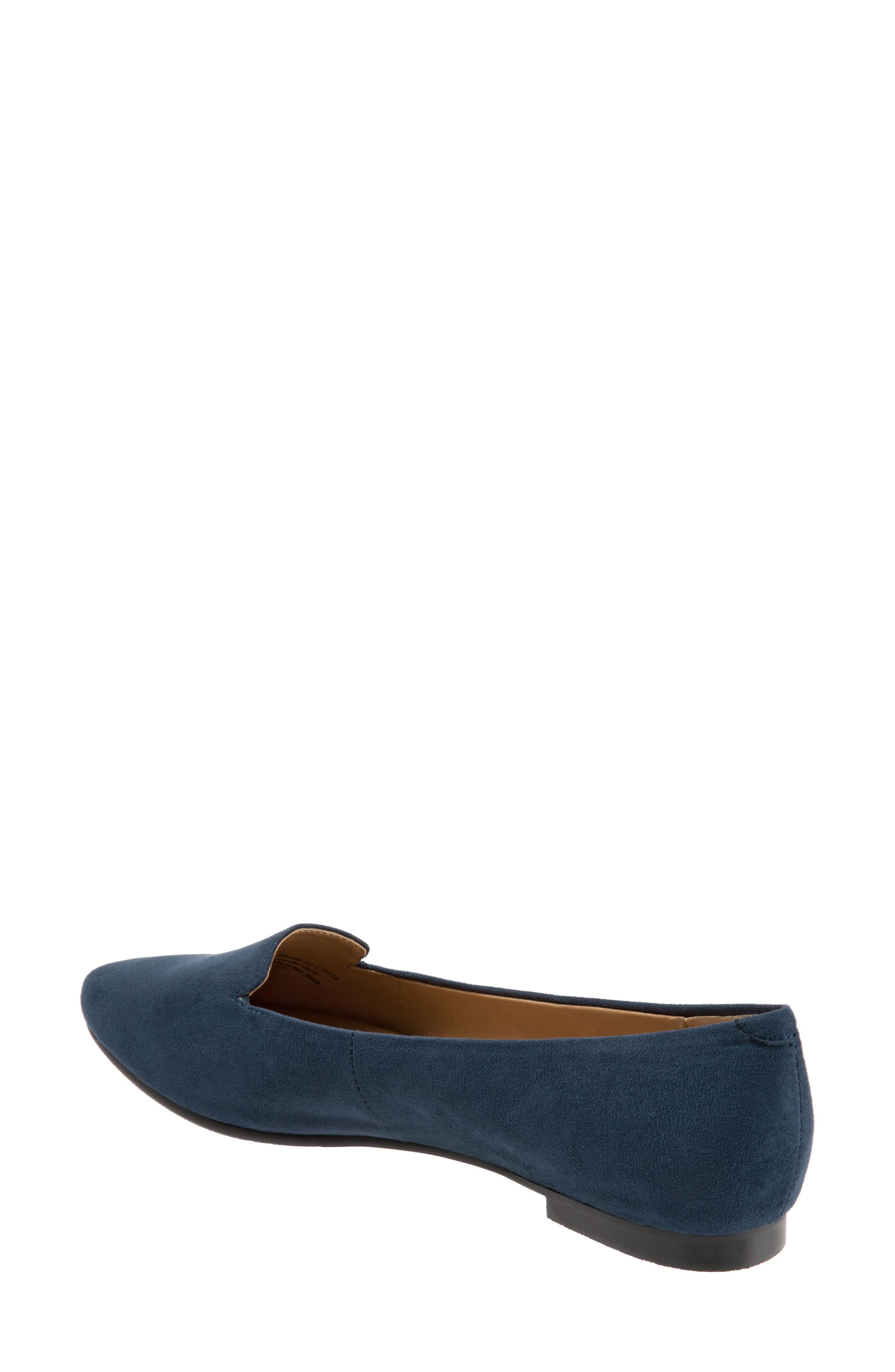 Harlowe Pointy Toe Loafer,                             Alternate thumbnail 2, color,                             Navy Leather