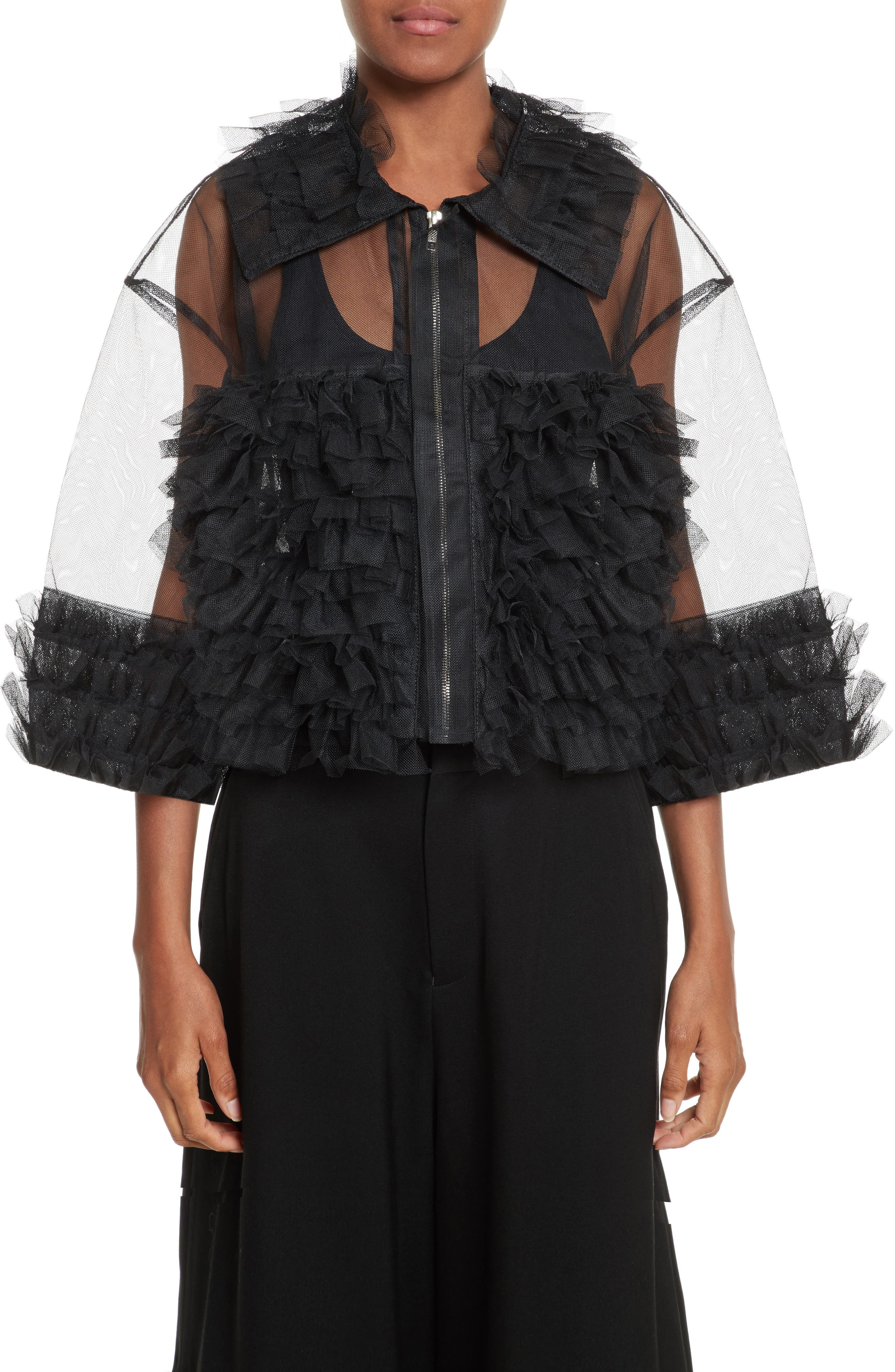 Frilled Tulle Blouse,                         Main,                         color, Black