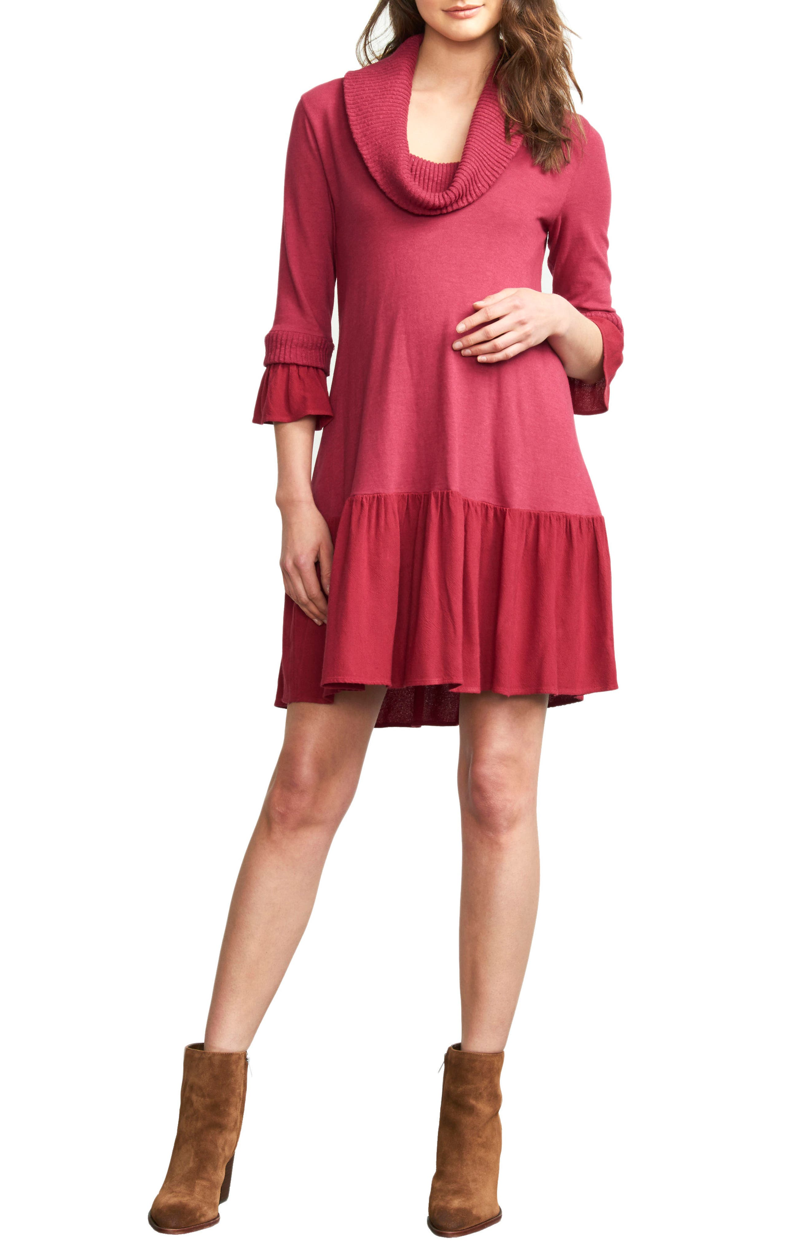 Main Image - Maternal America Cowl Neck Maternity Dress