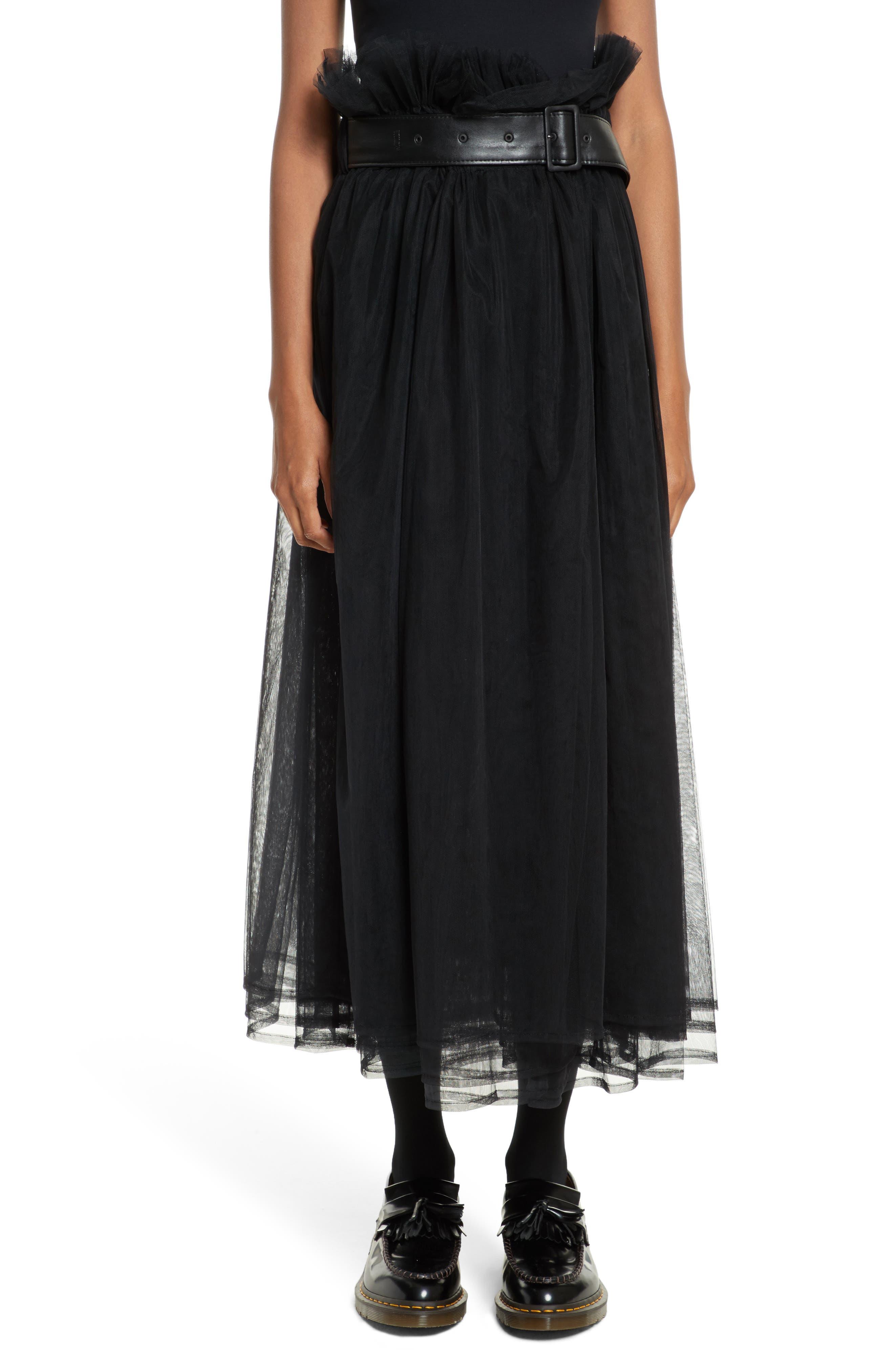 Tulle Midi Skirt,                             Main thumbnail 1, color,                             Black