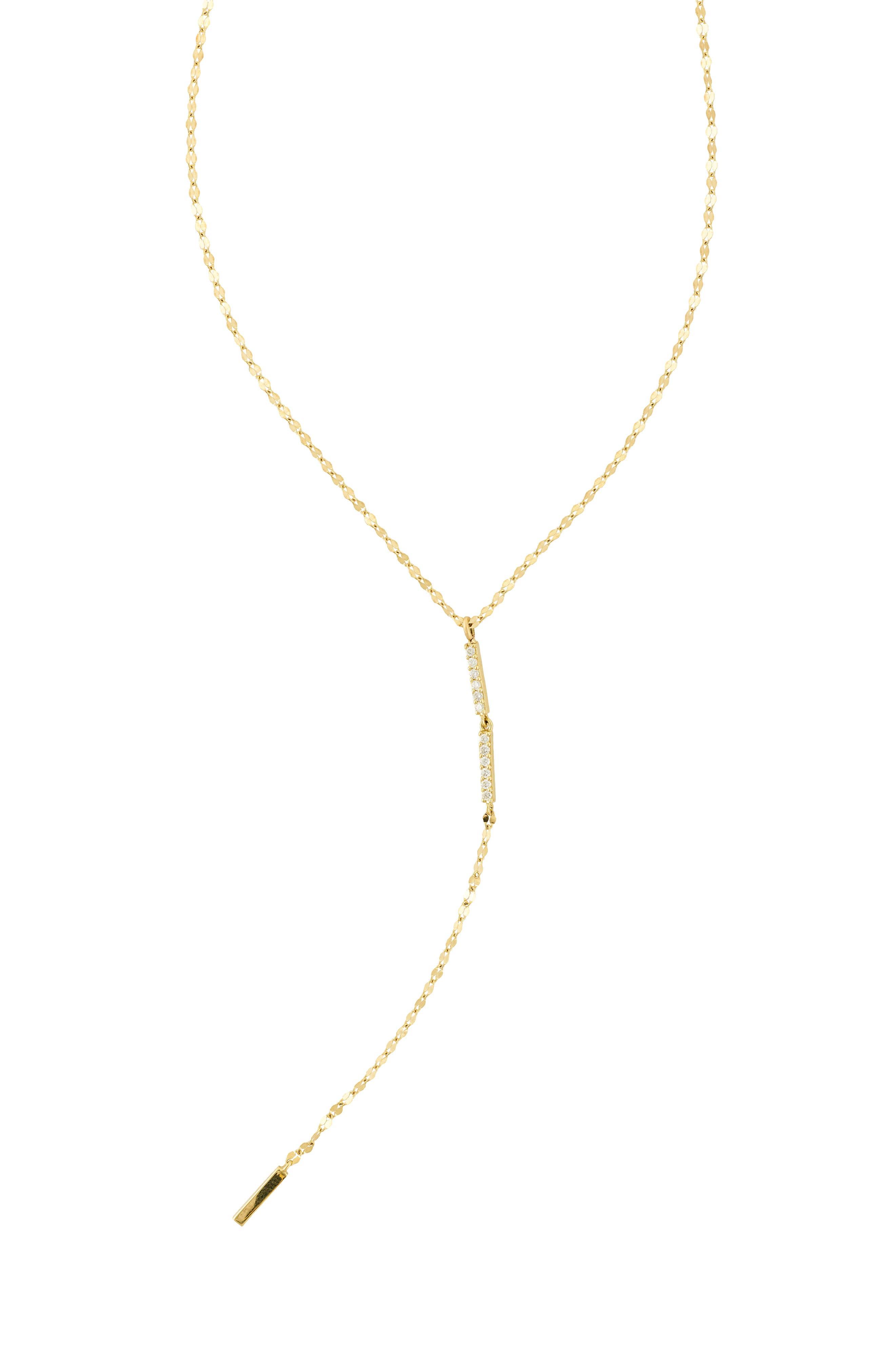 Diamond Bar Lariat Necklace,                             Main thumbnail 1, color,                             Yellow Gold