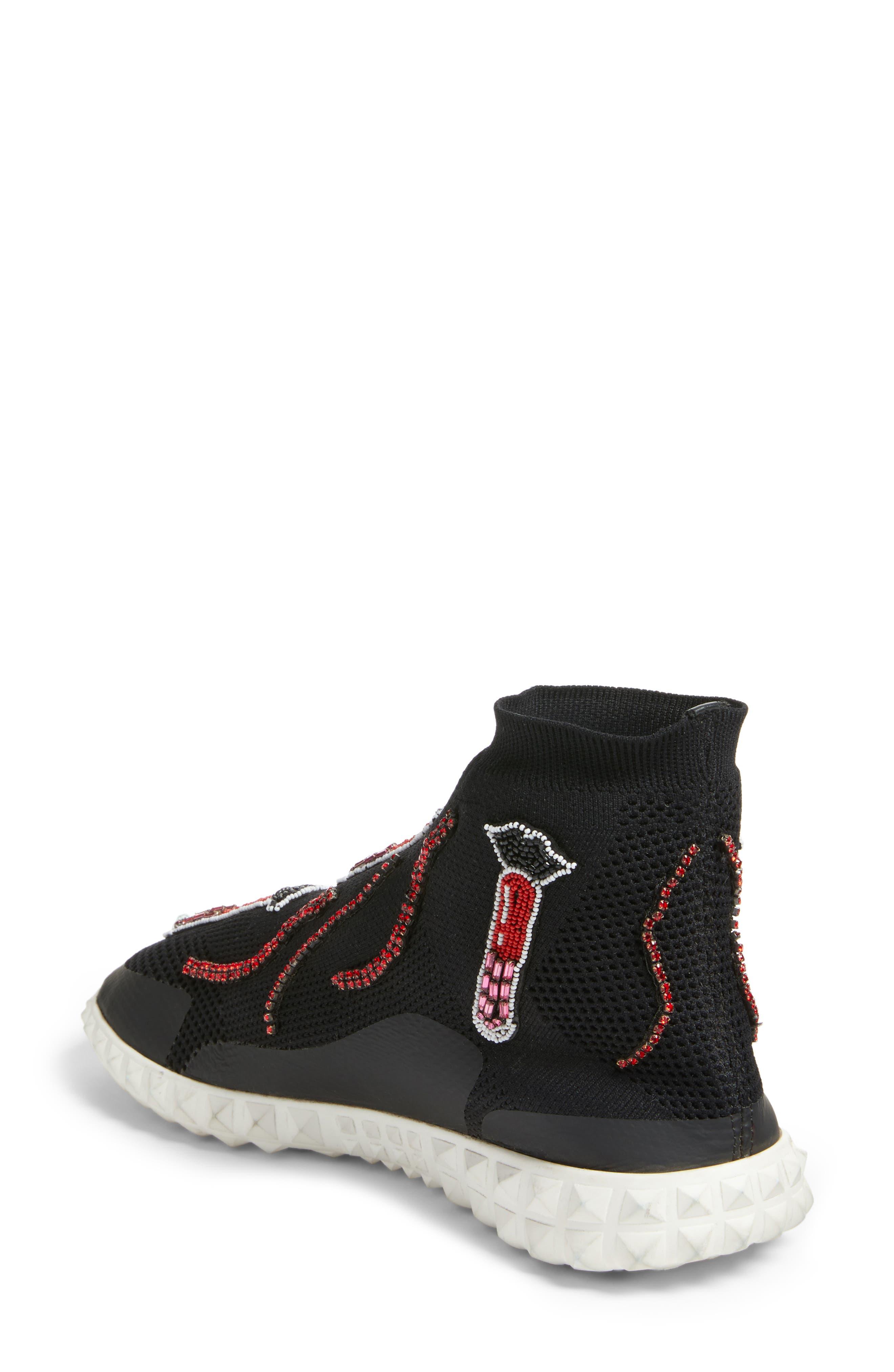 Lipstick Embellished High Top Sneaker,                             Alternate thumbnail 2, color,                             Black