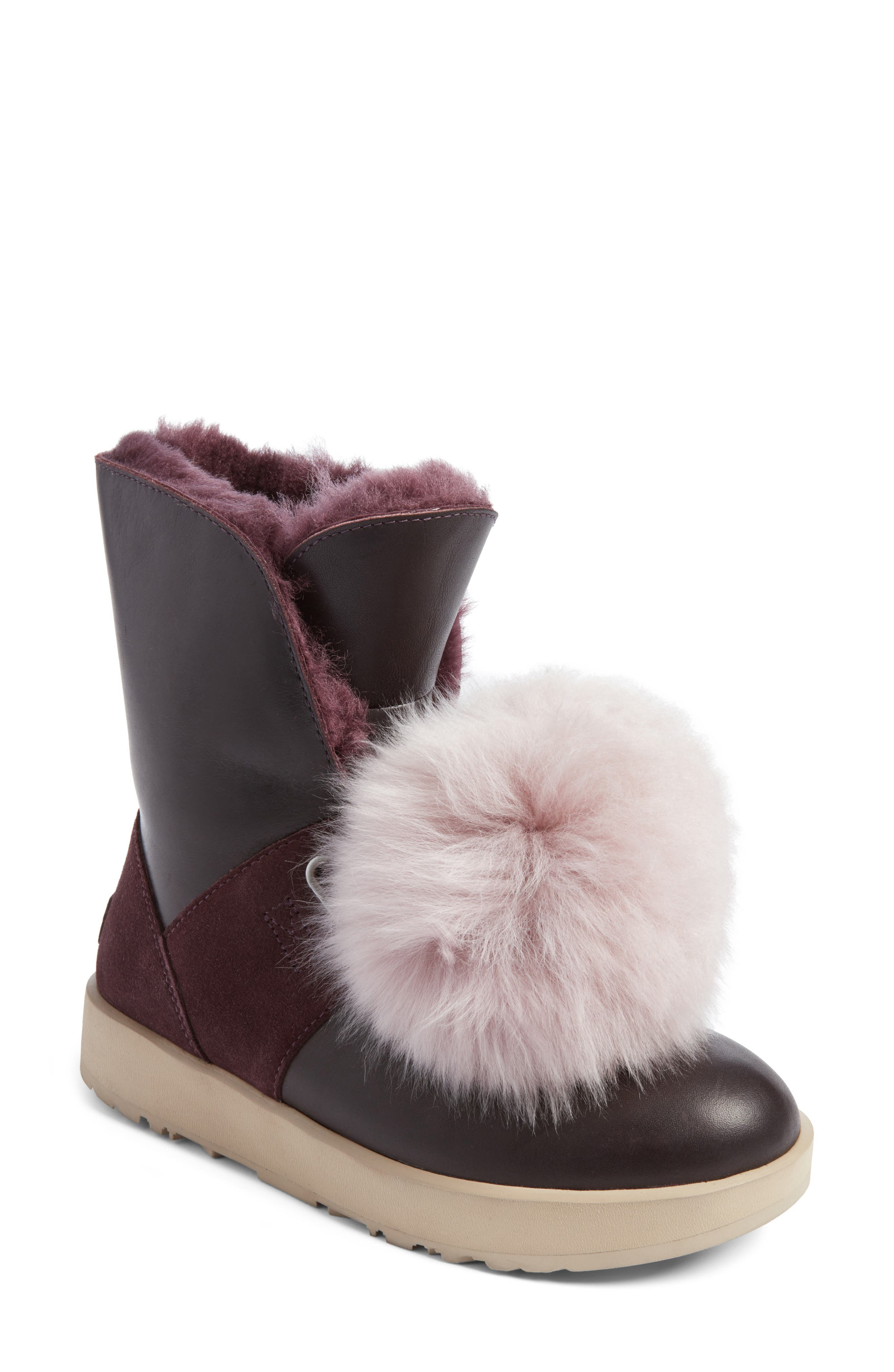 UGG® Isley Genuine Shearling Pompom Waterproof Boot (Women)