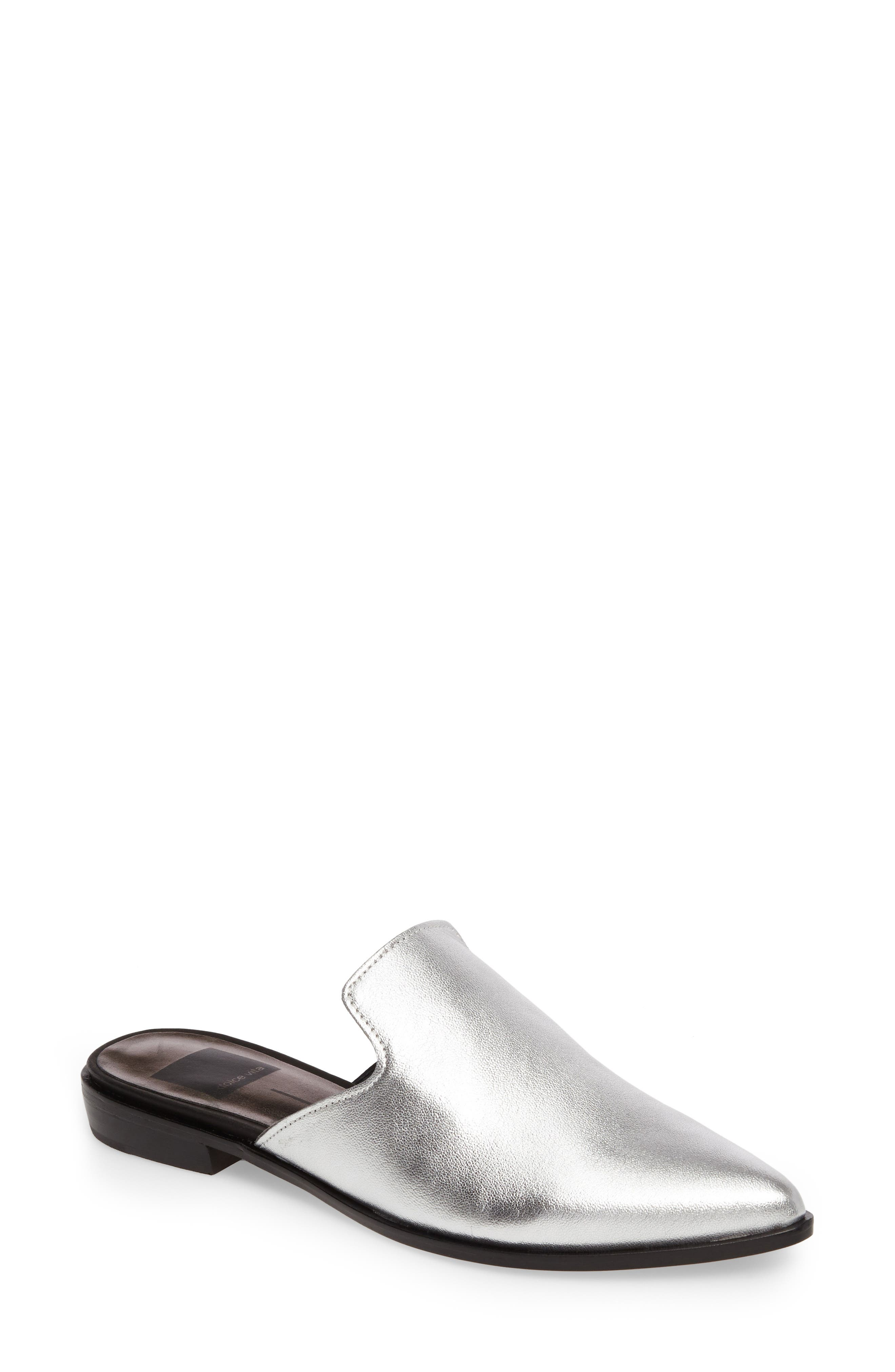 Holli Loafer Mule,                         Main,                         color, Silver Leather