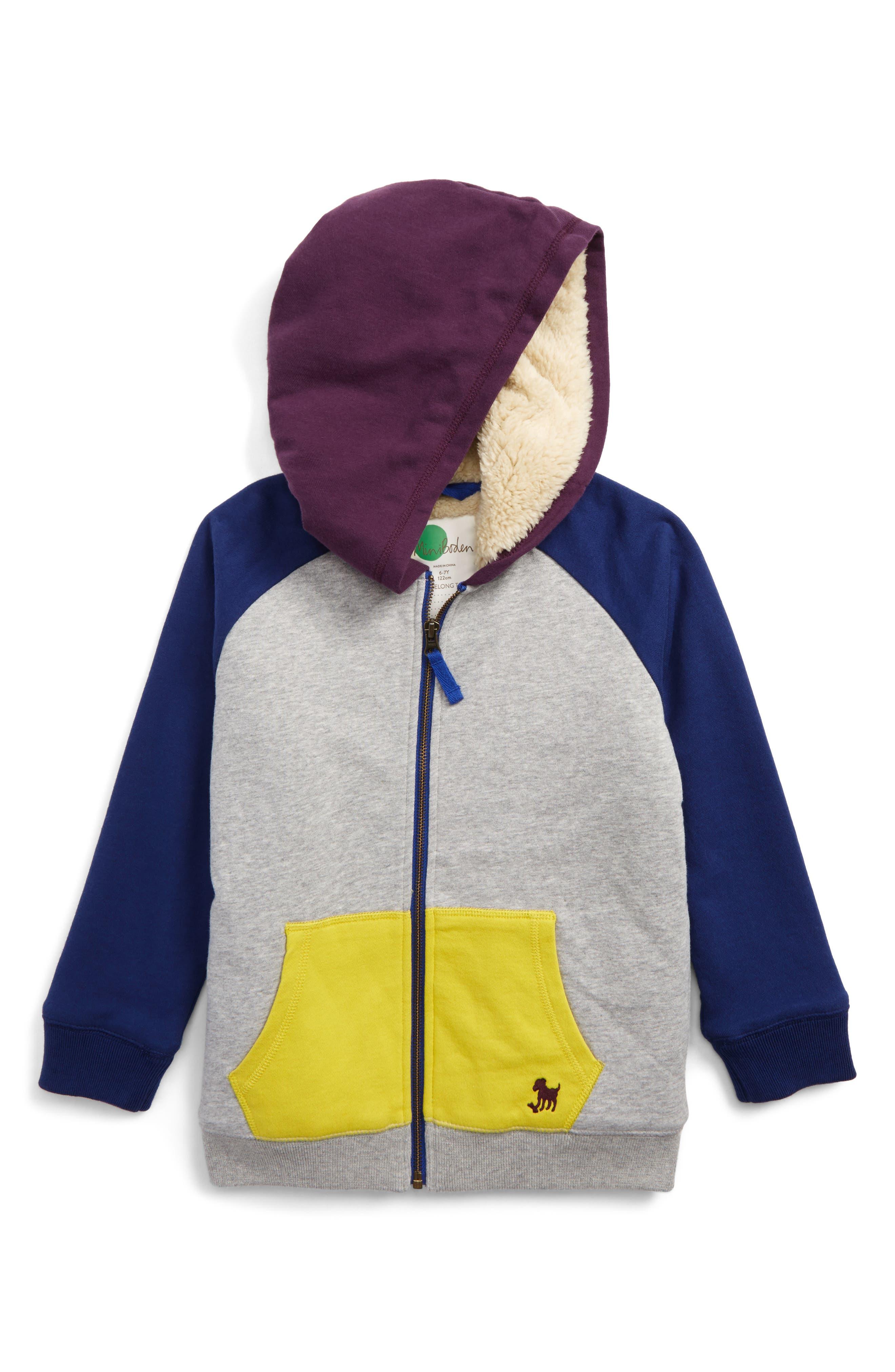 Mini Boden Shaggy Hoodie (Toddler Boys, Little Boys & Big Boys)