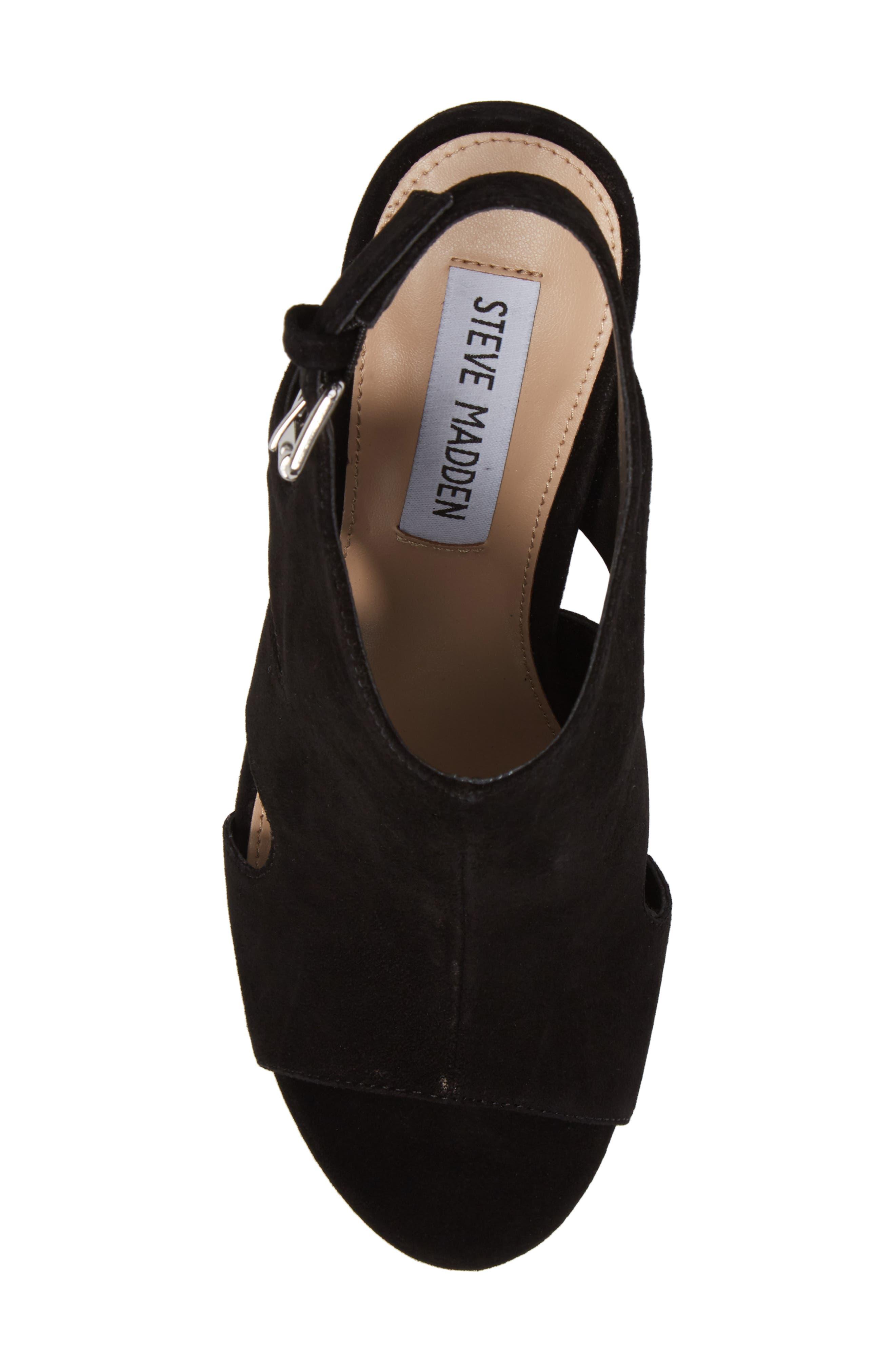Emmy Wedge Sandal,                             Alternate thumbnail 5, color,                             Black Suede