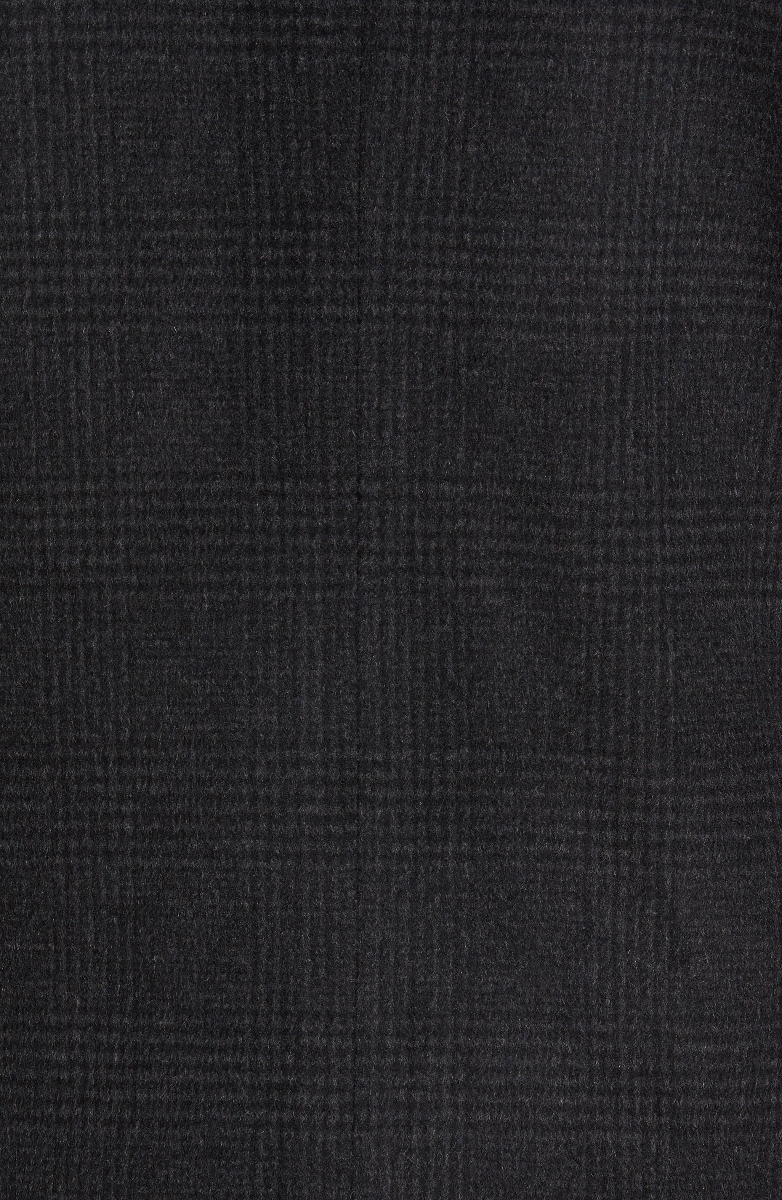 Turner Plaid Wool Blend Topcoat,                             Alternate thumbnail 5, color,                             Dark Charcoal