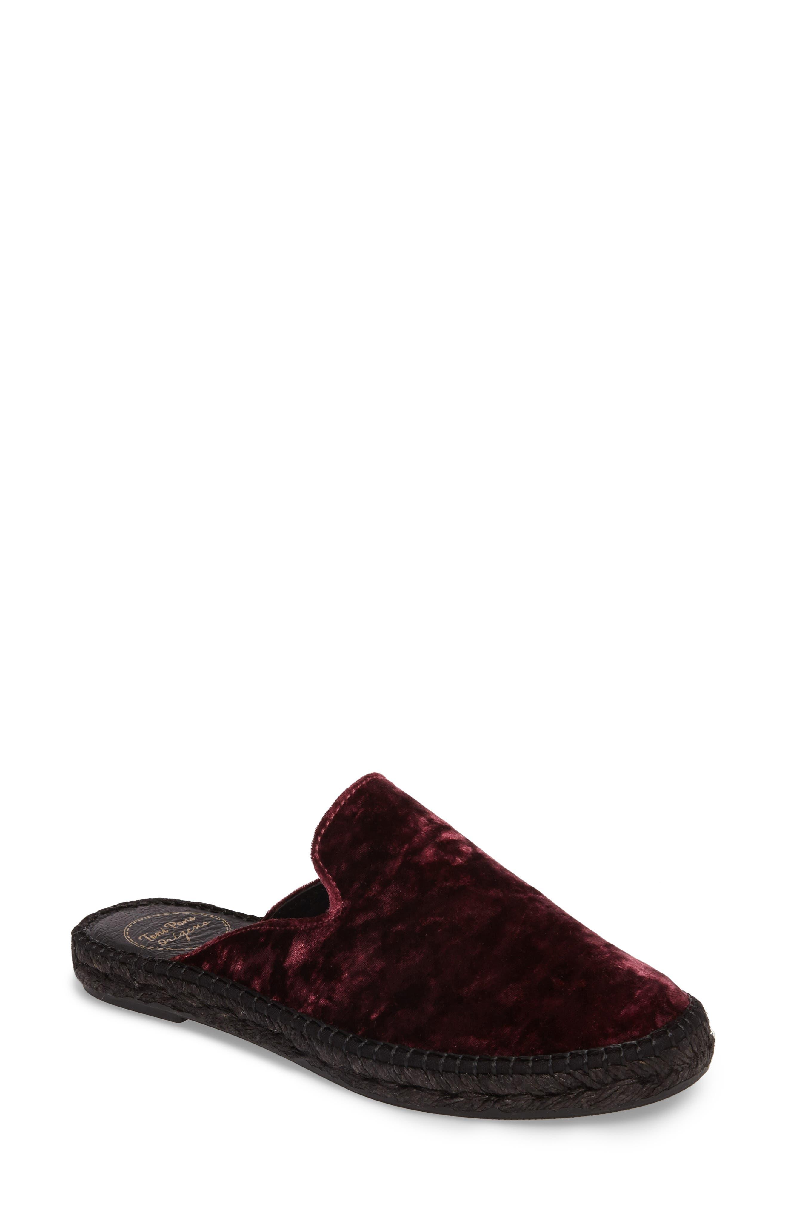 Malmo Espadrille Slipper Mule,                         Main,                         color, Burgundy Velvet