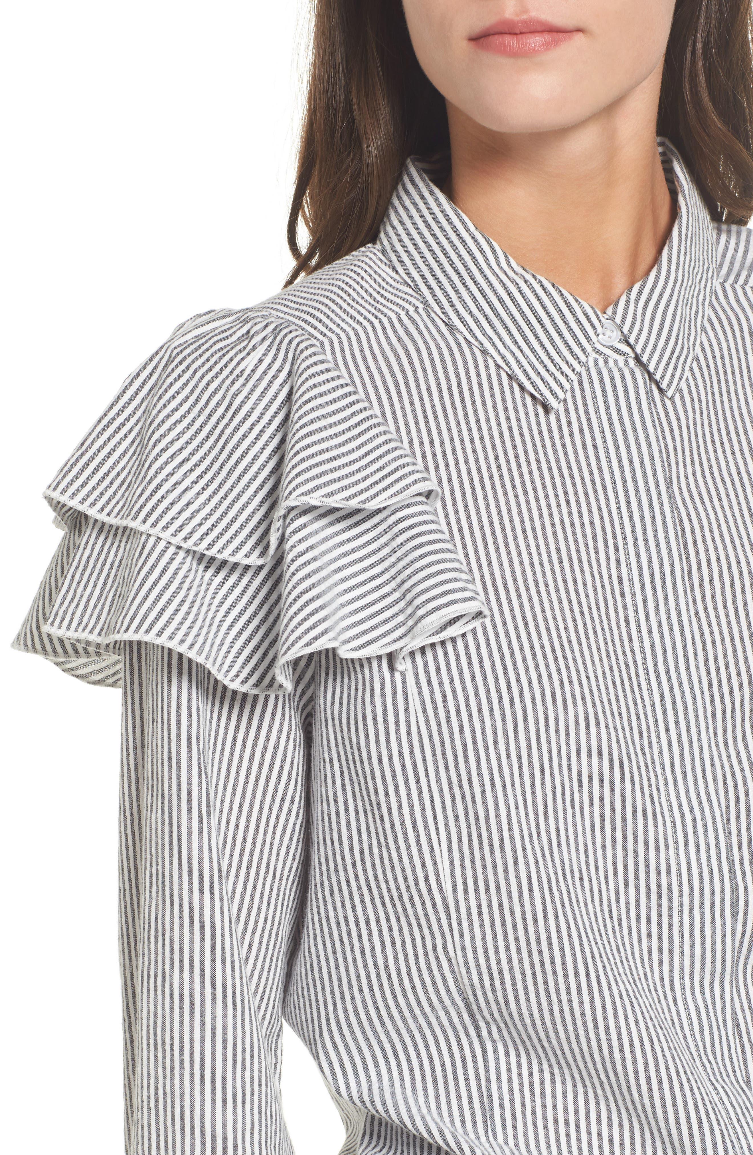 Ruffle Shoulder Shirt,                             Alternate thumbnail 4, color,                             Ivory Egret Katie Stripe