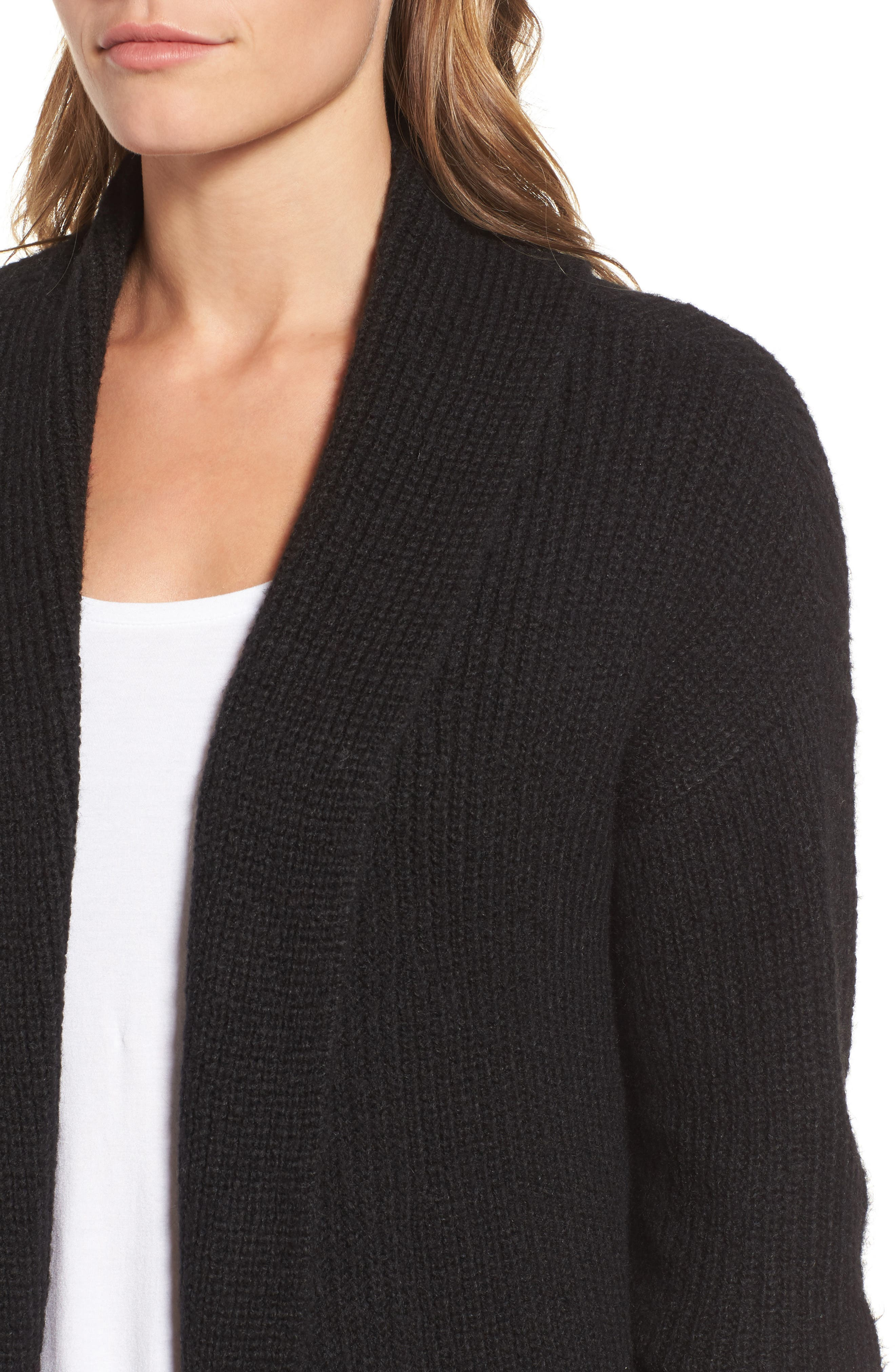 Textured Open Front Cardigan,                             Alternate thumbnail 4, color,                             Black