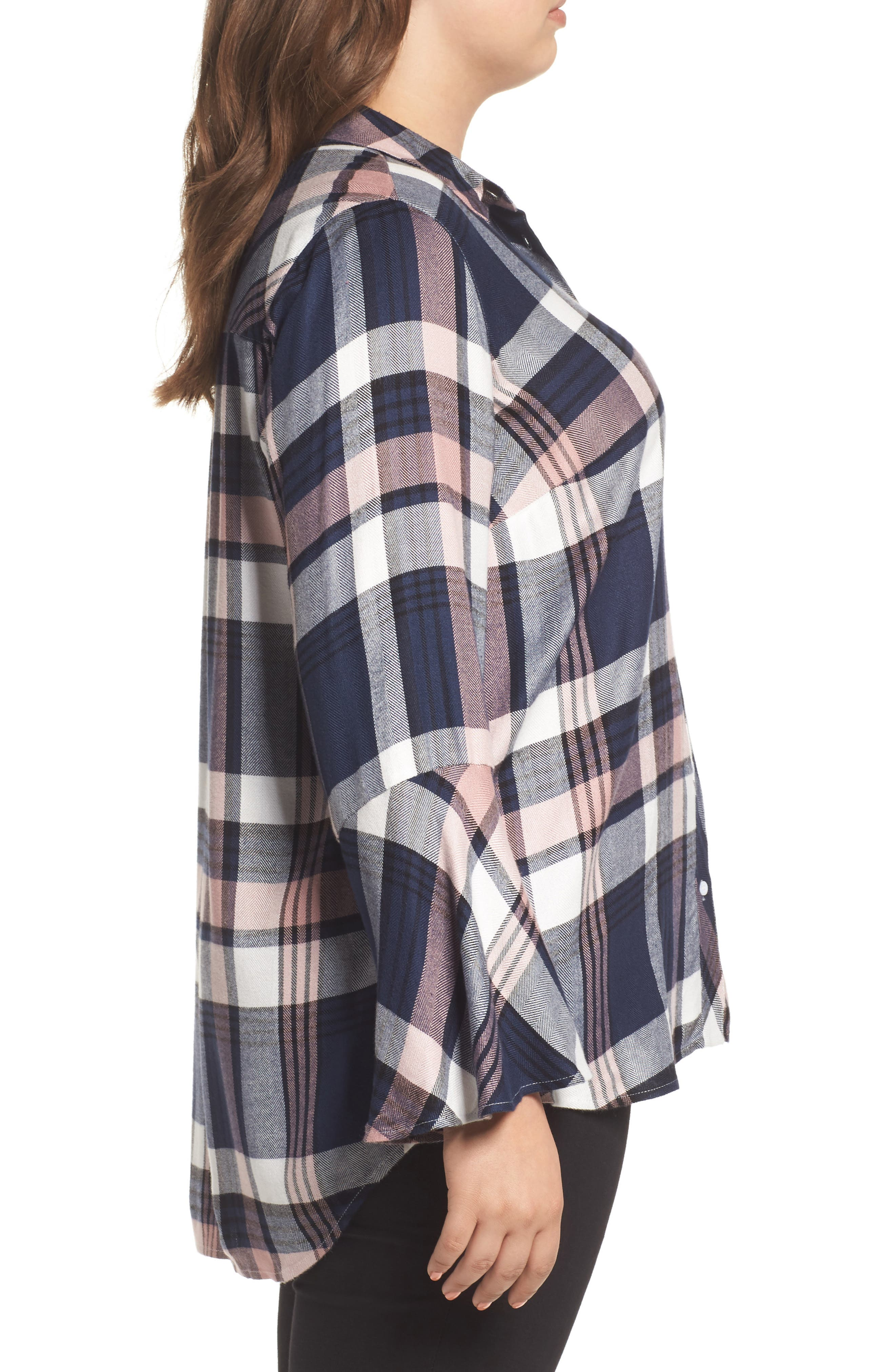 Alternate Image 3  - Two by Vince Camuto Plaid Bell Sleeve Shirt (Plus Size)