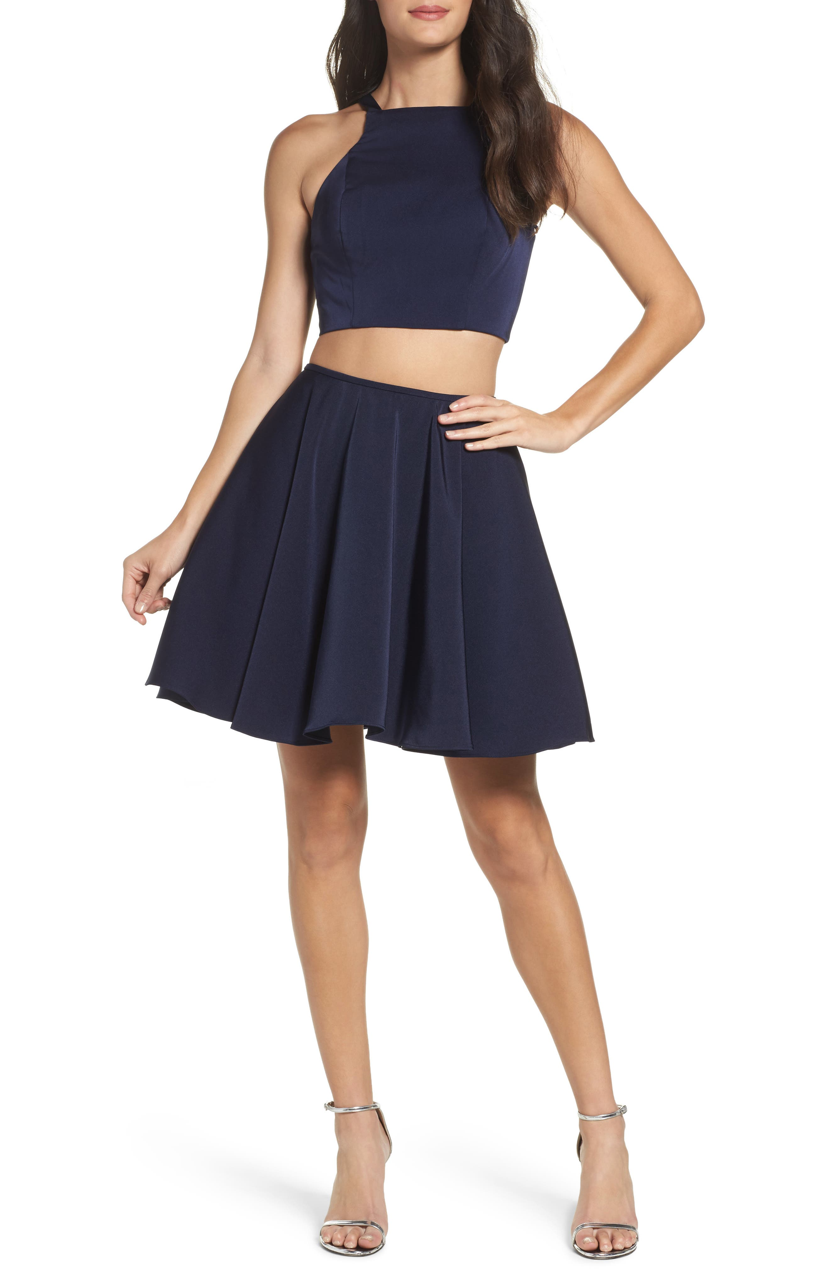 Strappy Back Two-Piece Skater Dress,                         Main,                         color, Navy